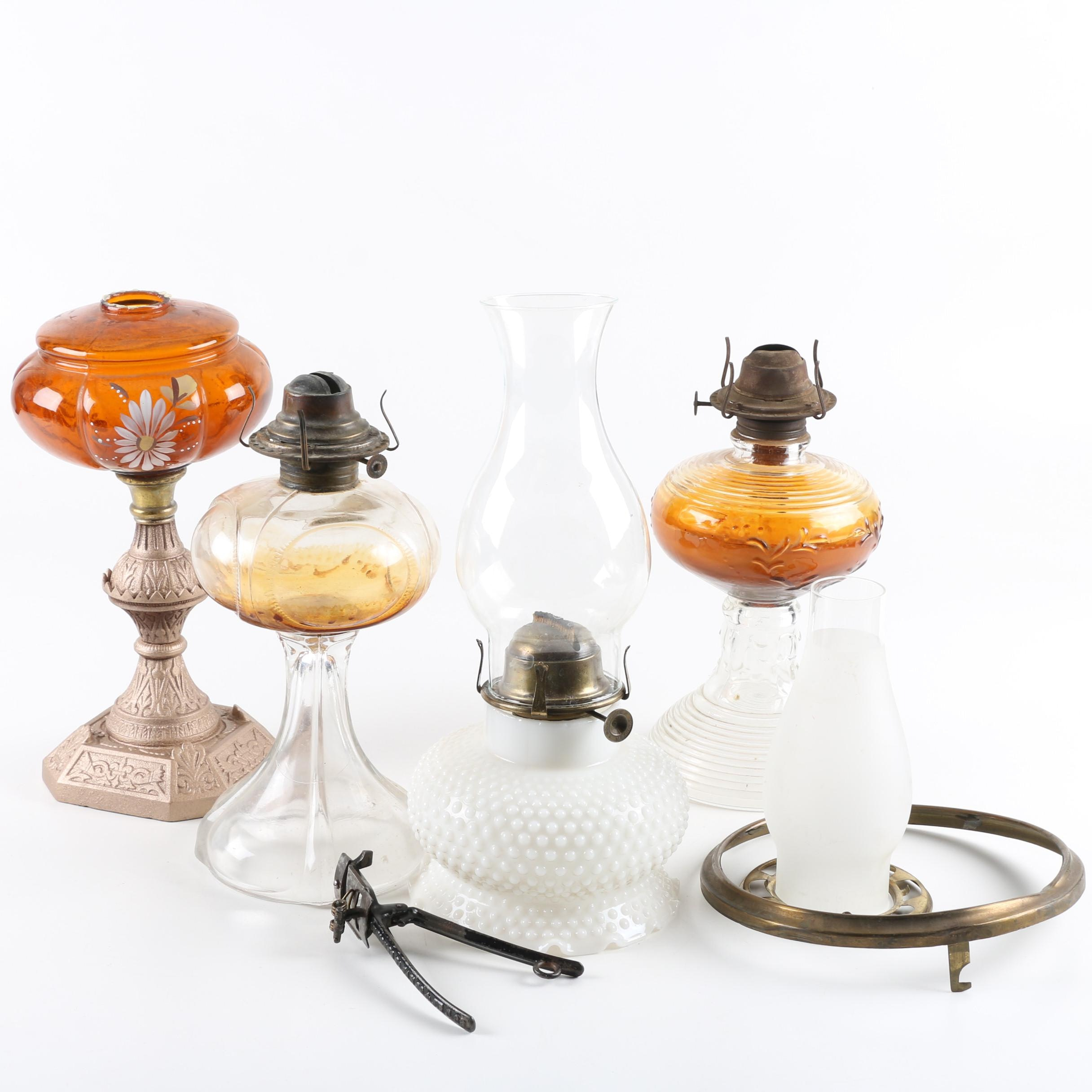 Vintage Oil Lamps and Shades Including Milk Glass