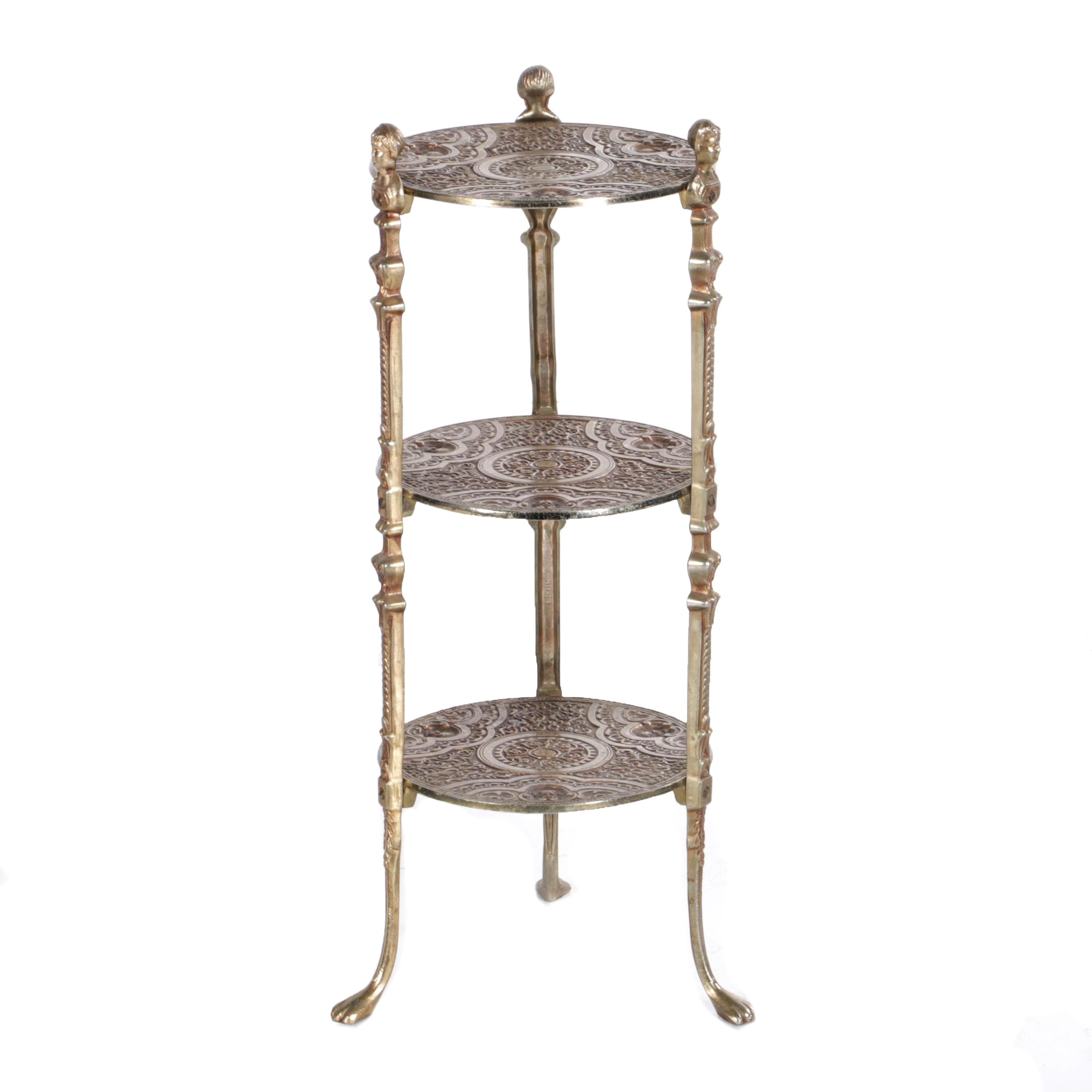Vintage Victorian Style Cast Metal Three-Tier Stand