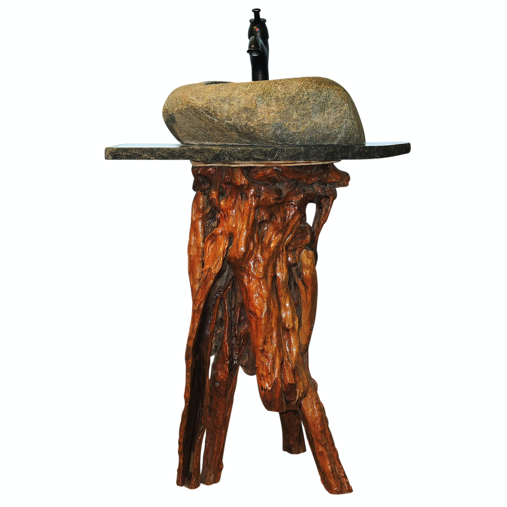 Granite Top Stone Sink with Natural Wood Base