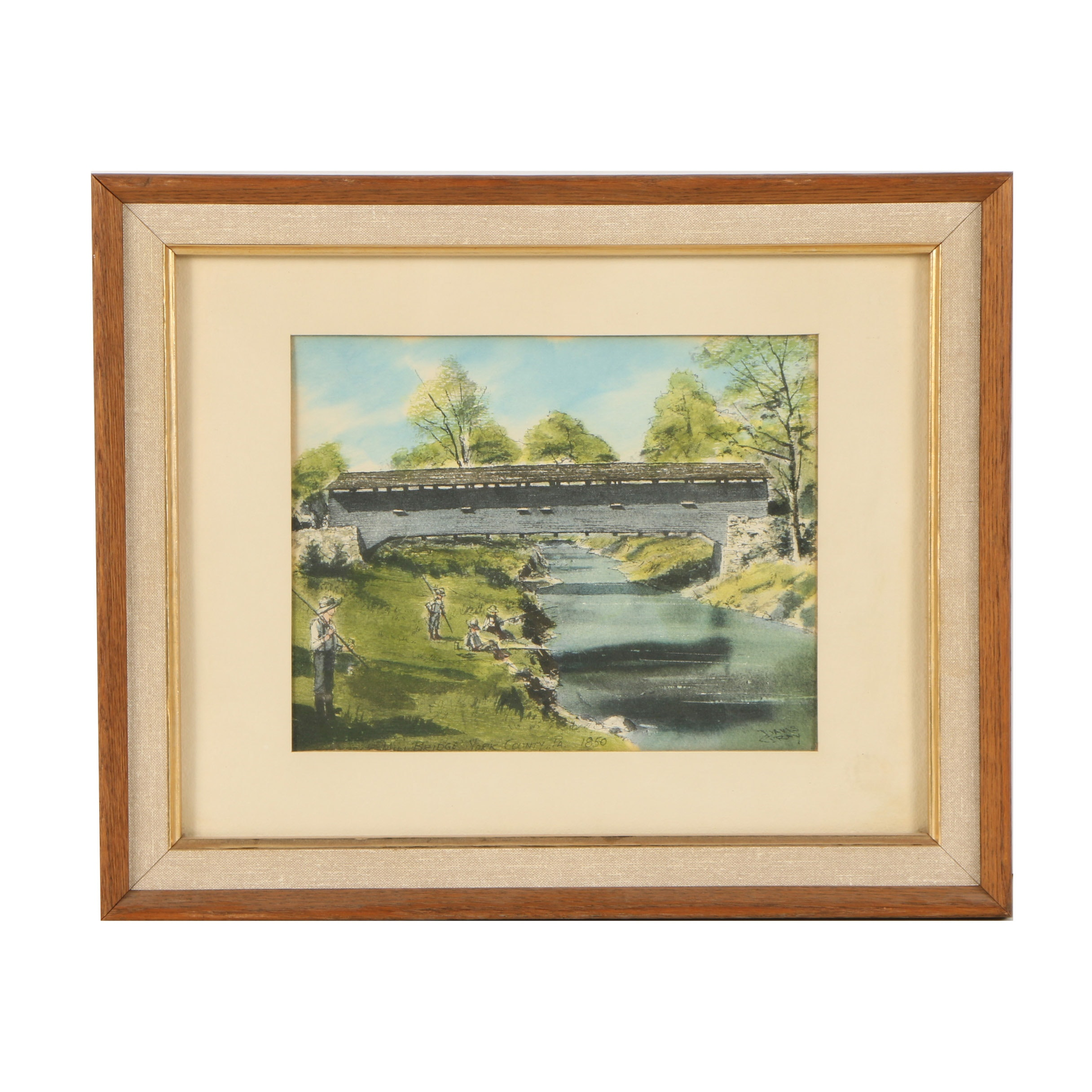 "Halftone Print After Davis Gray ""Bentzel Mill Bridge, York County, PA"""