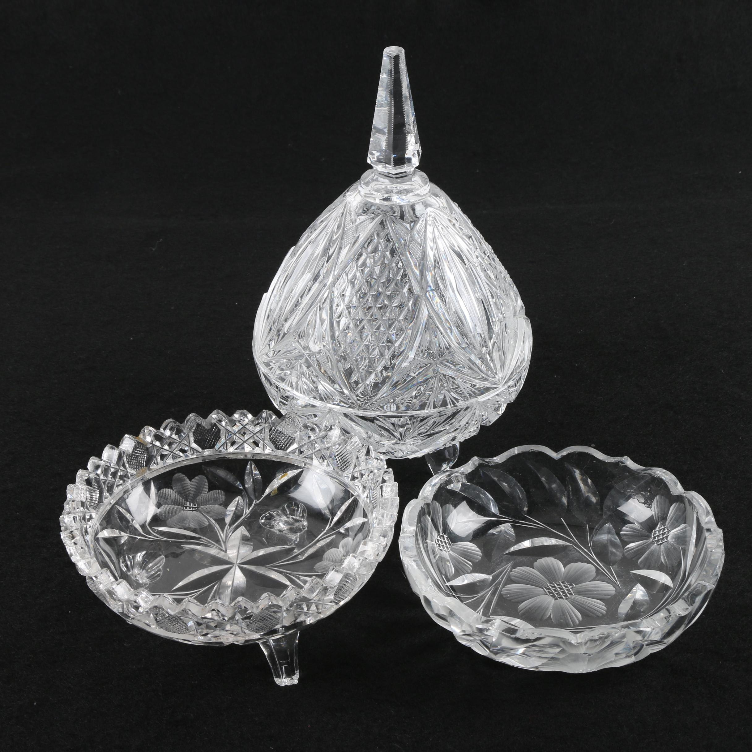 Floral Motif Crystal Candy Dishes