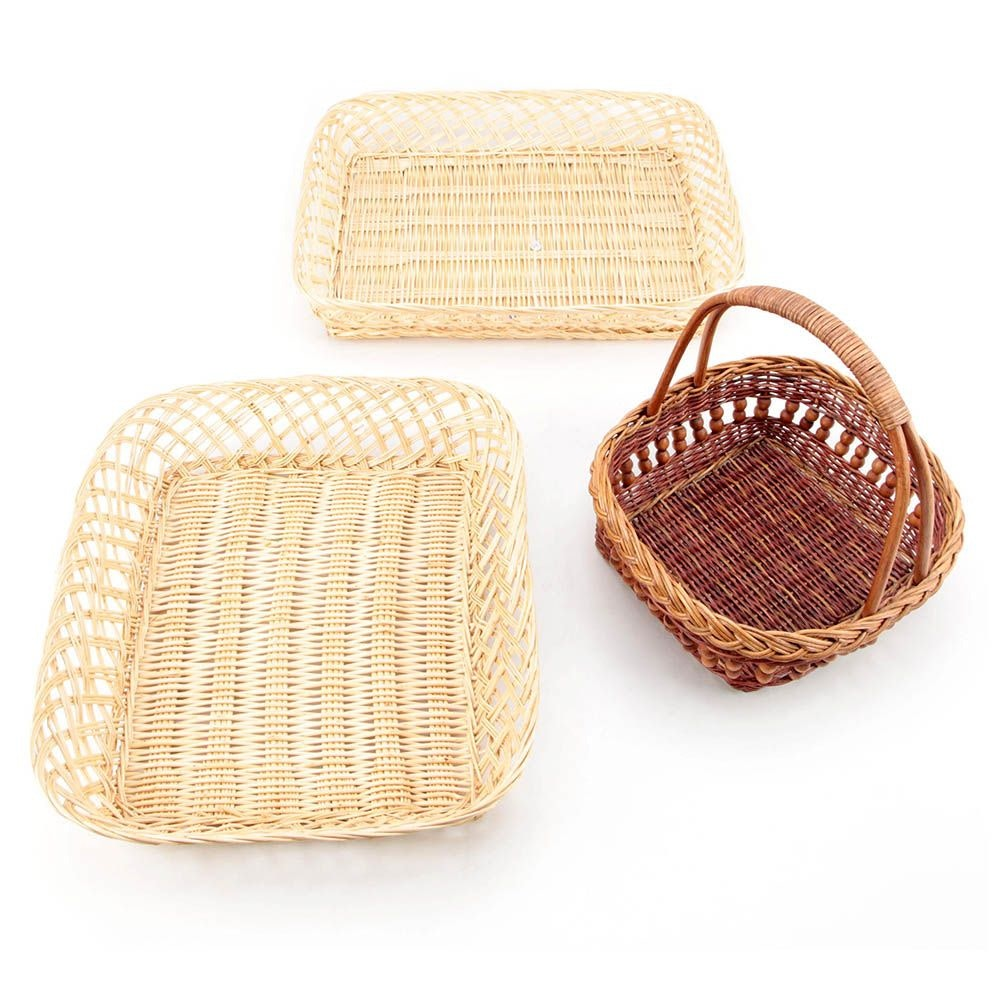 Woven Wicker Basket and Trays