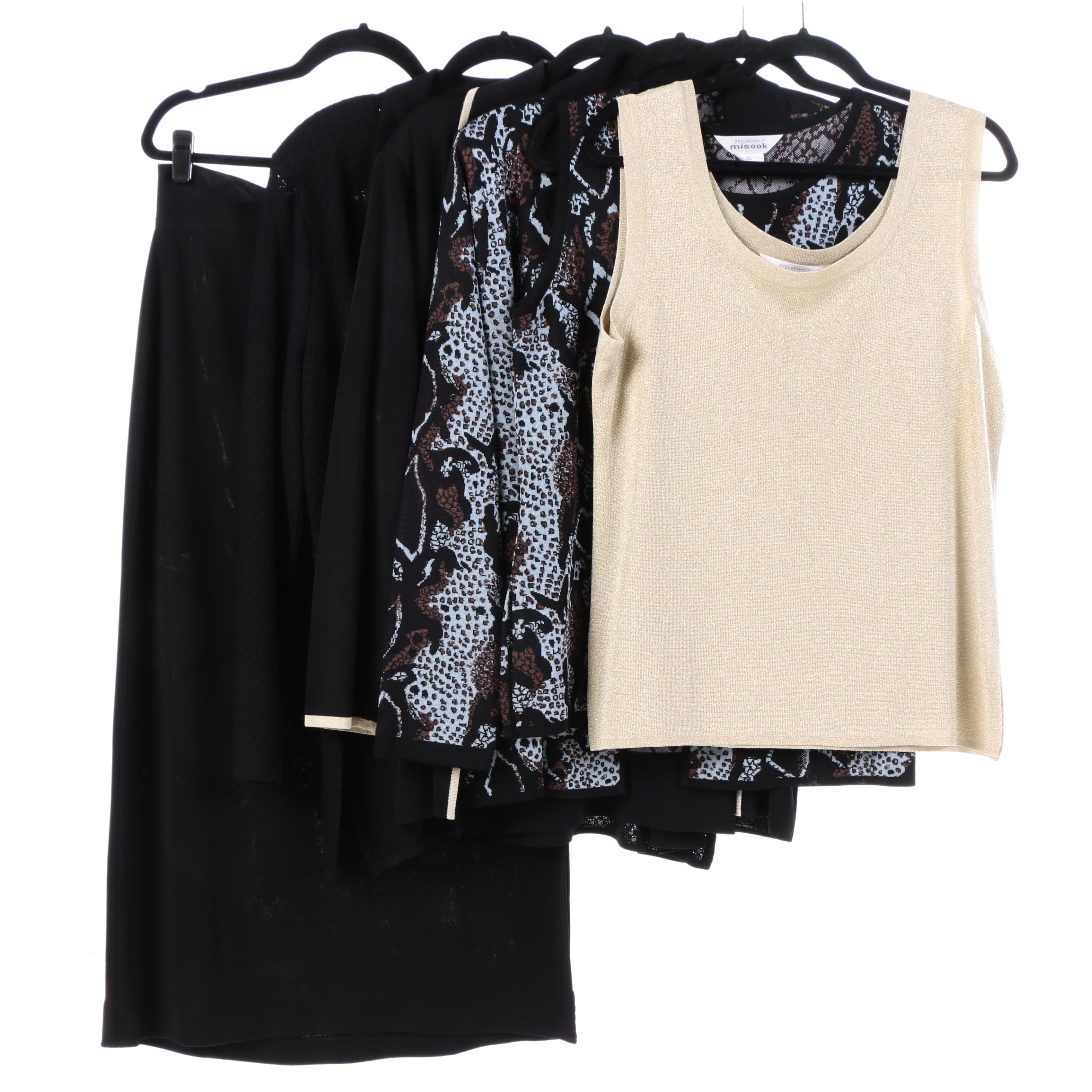 Women's Misook Knit Tops, Jackets and Skirts