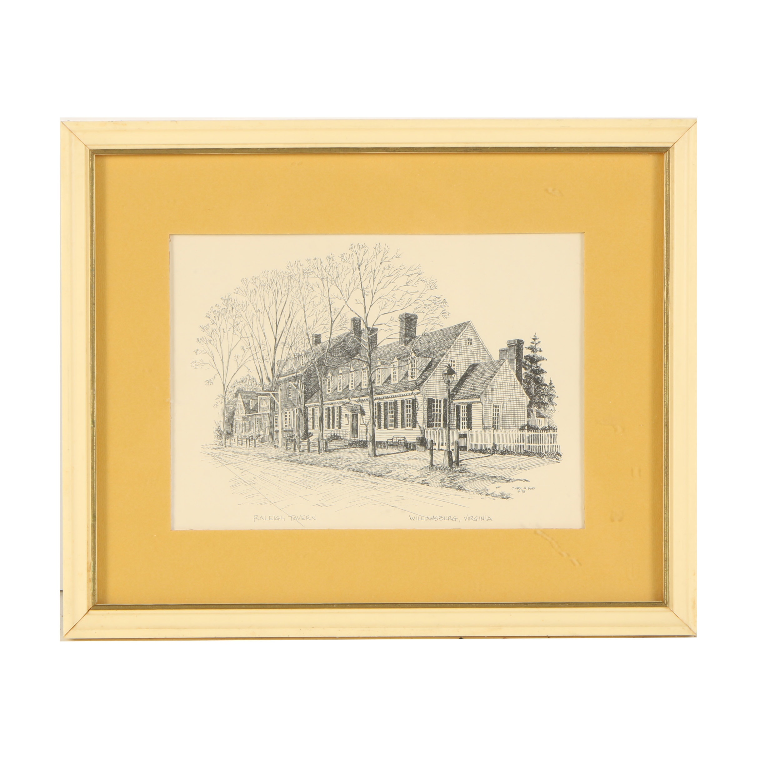"Lithograph Print After Clark M. Goff Drawing ""Raleigh Tavern"""