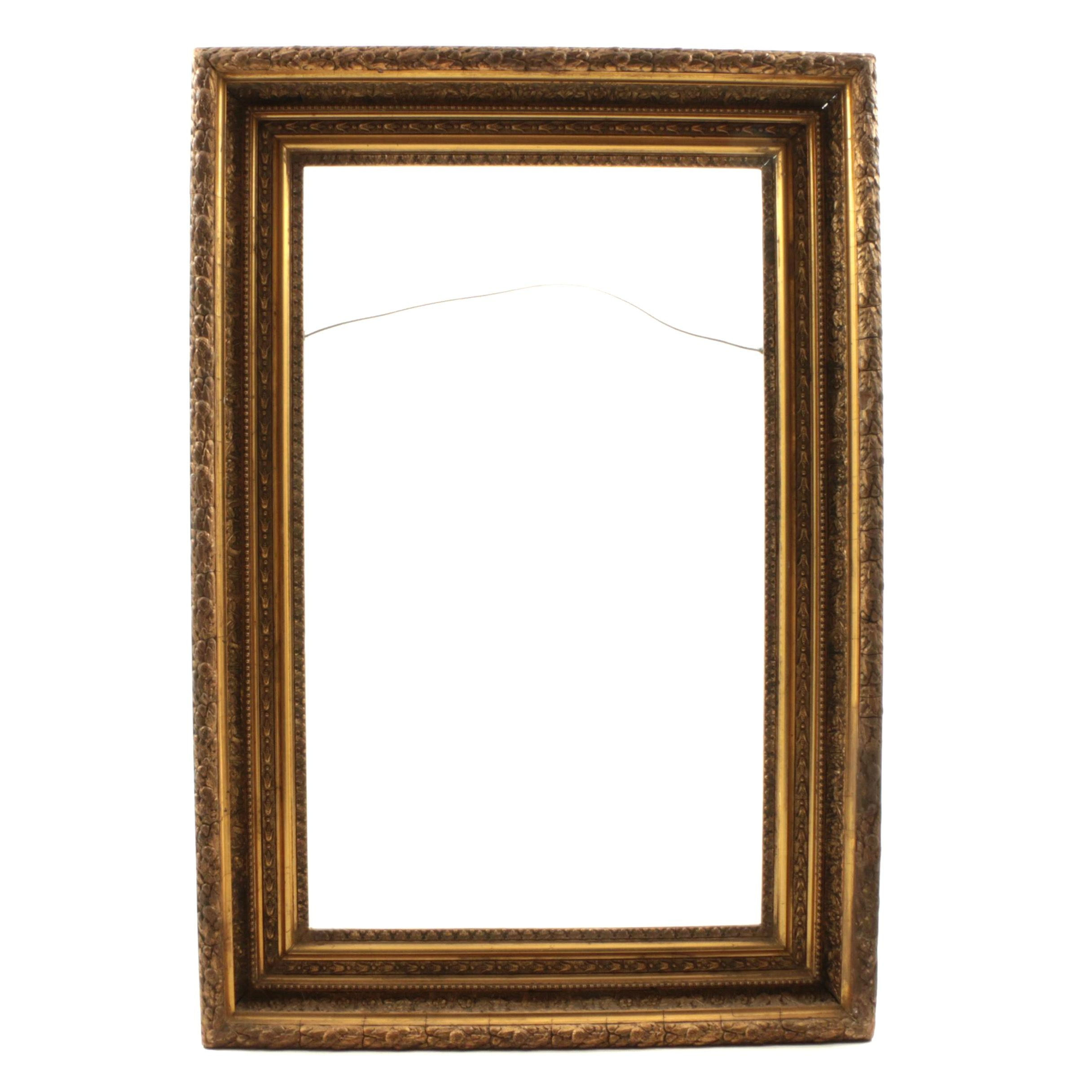 Late 19th Century Gilded Carved Gesso Wood Frame