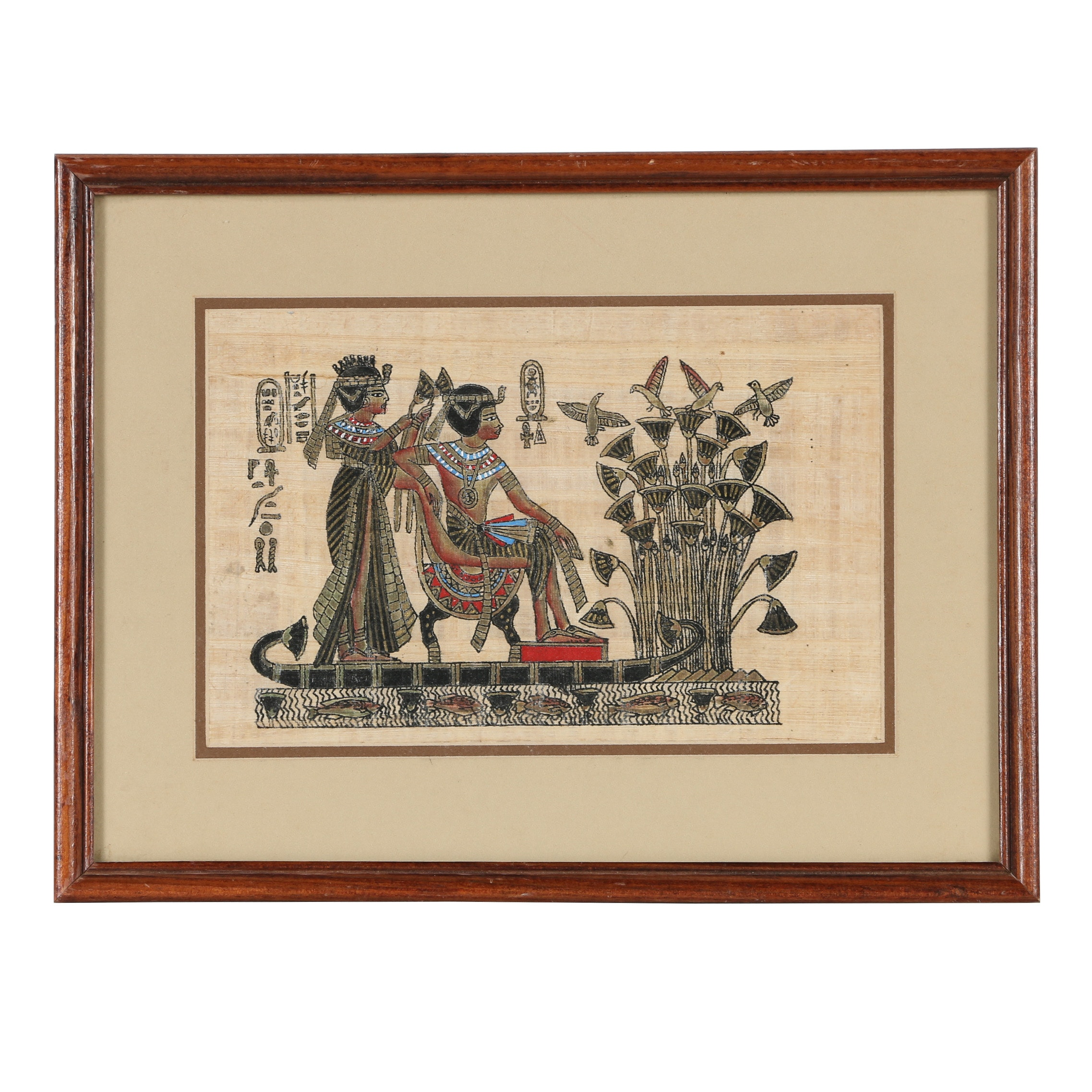 Egyptian-Style Novelty Acrylic Painting on Papyrus