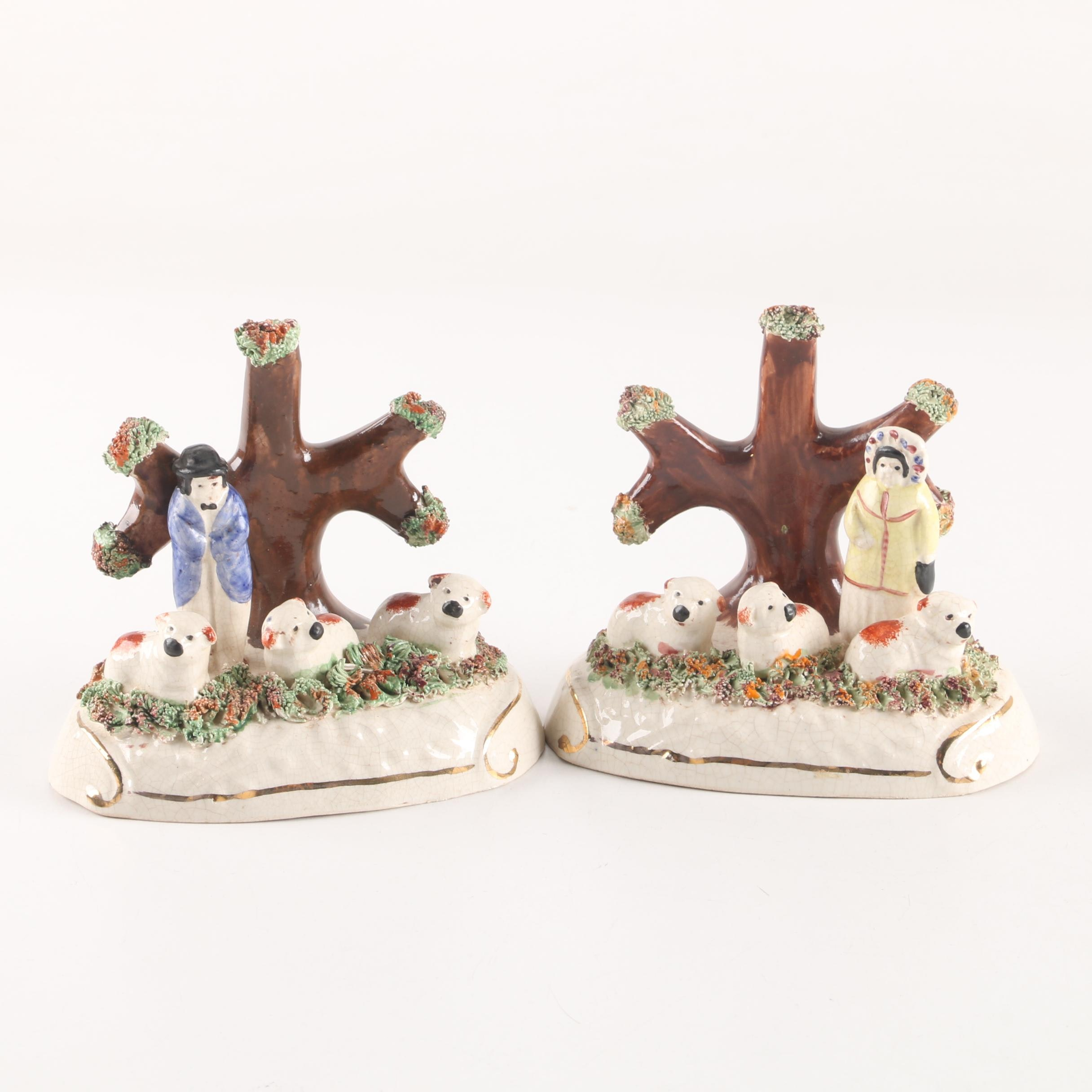 Pair of Staffordshire Ceramic Figurines with Bocage Decoration