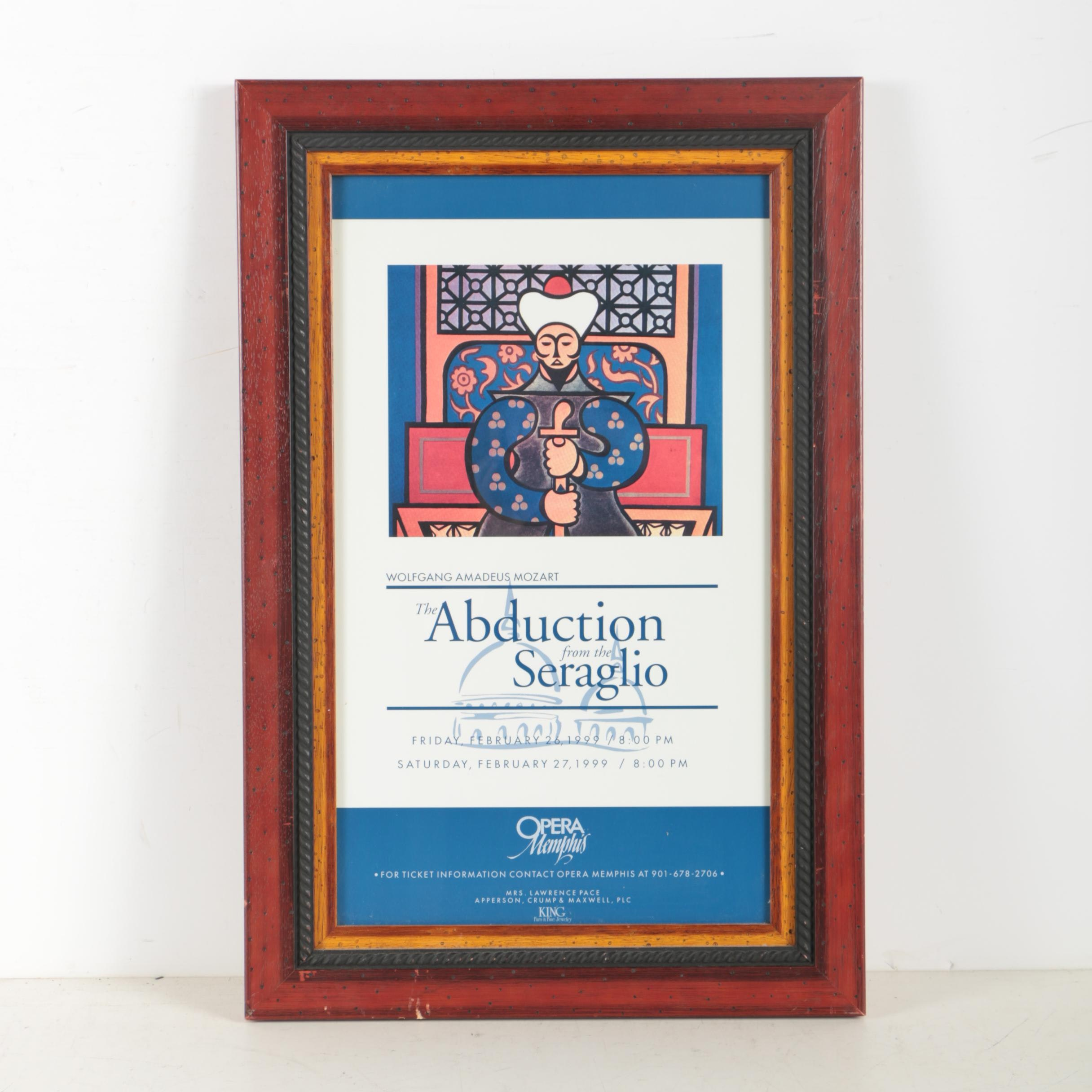 """Offset Lithograph of Memephis Opera Poster """"The Abduction from the Seraglio"""""""