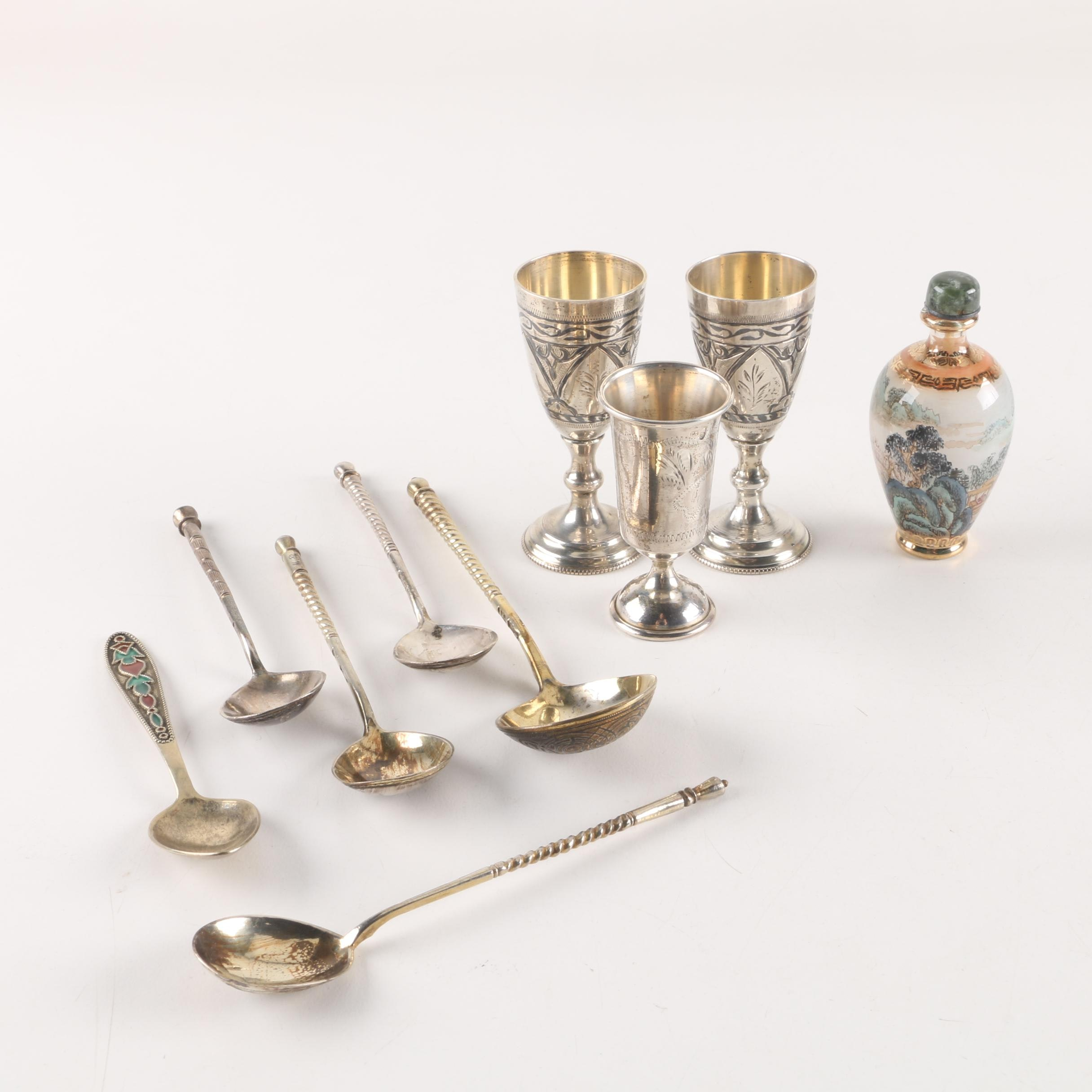Silver Plate Spoon and Cup set with Painted Glass Bottle