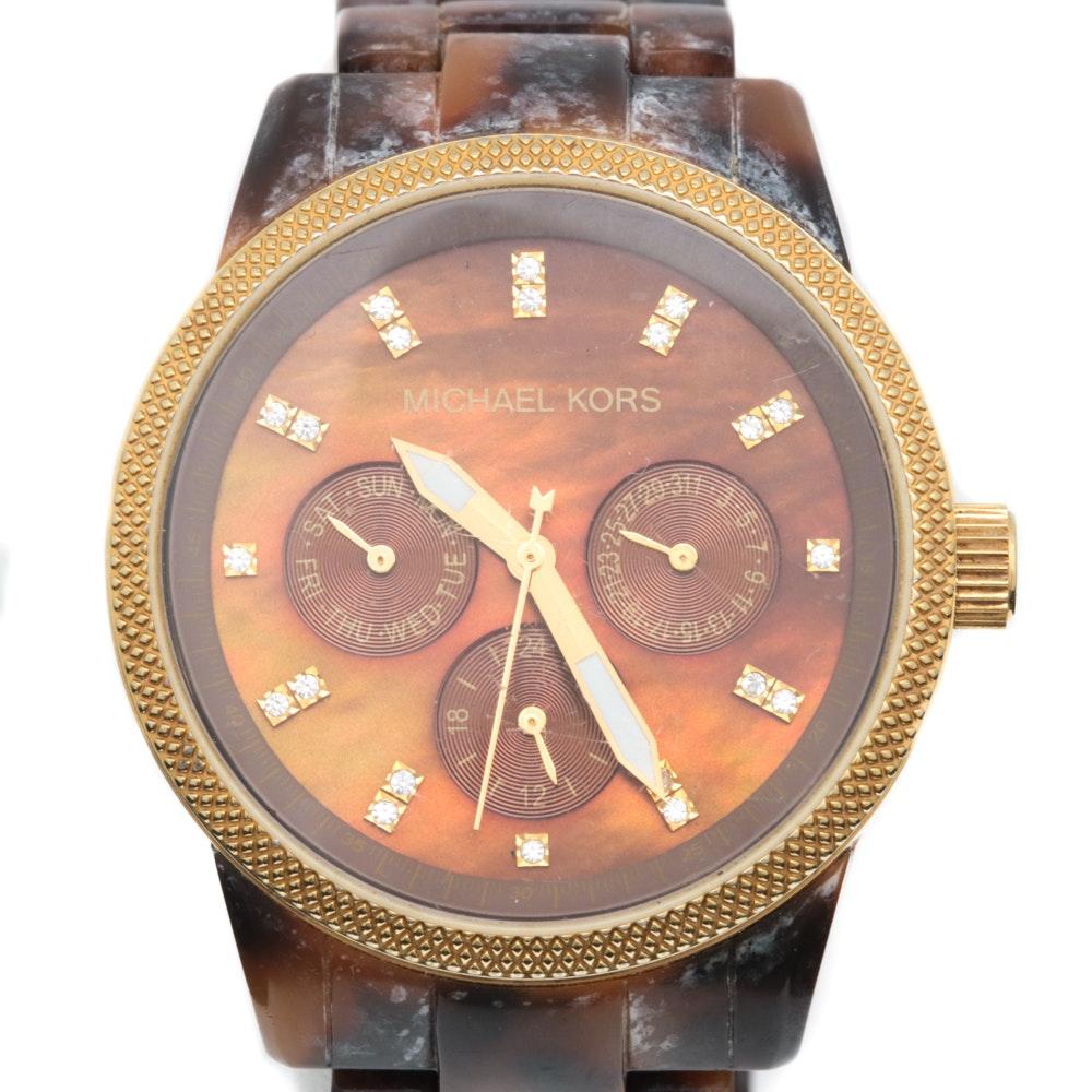 Michael Kors Ritz Acrylic Tortoise Shell Wristwatch