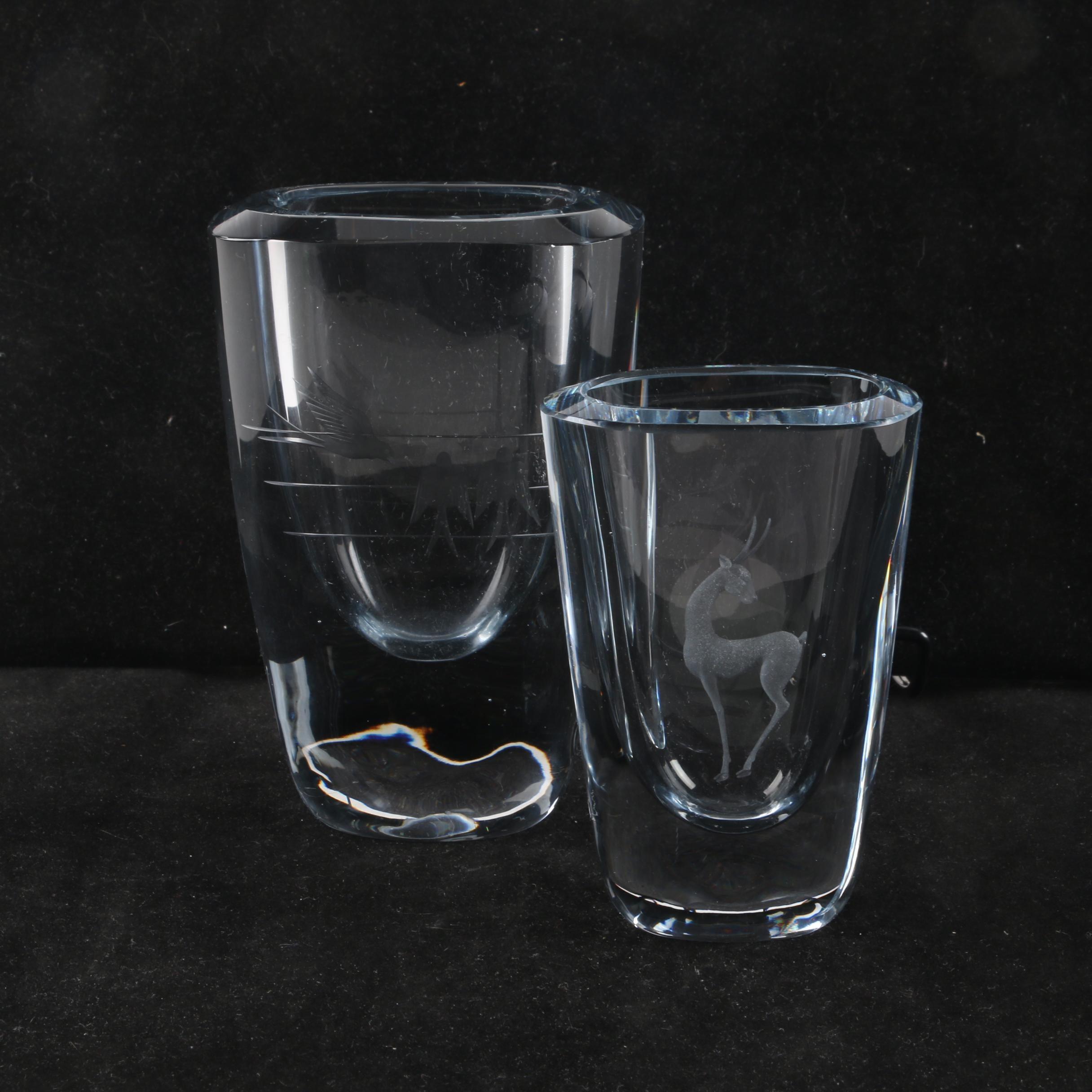 Crystal Vases, Including Signed Swedish Strömbergshyttan Crystal Vase