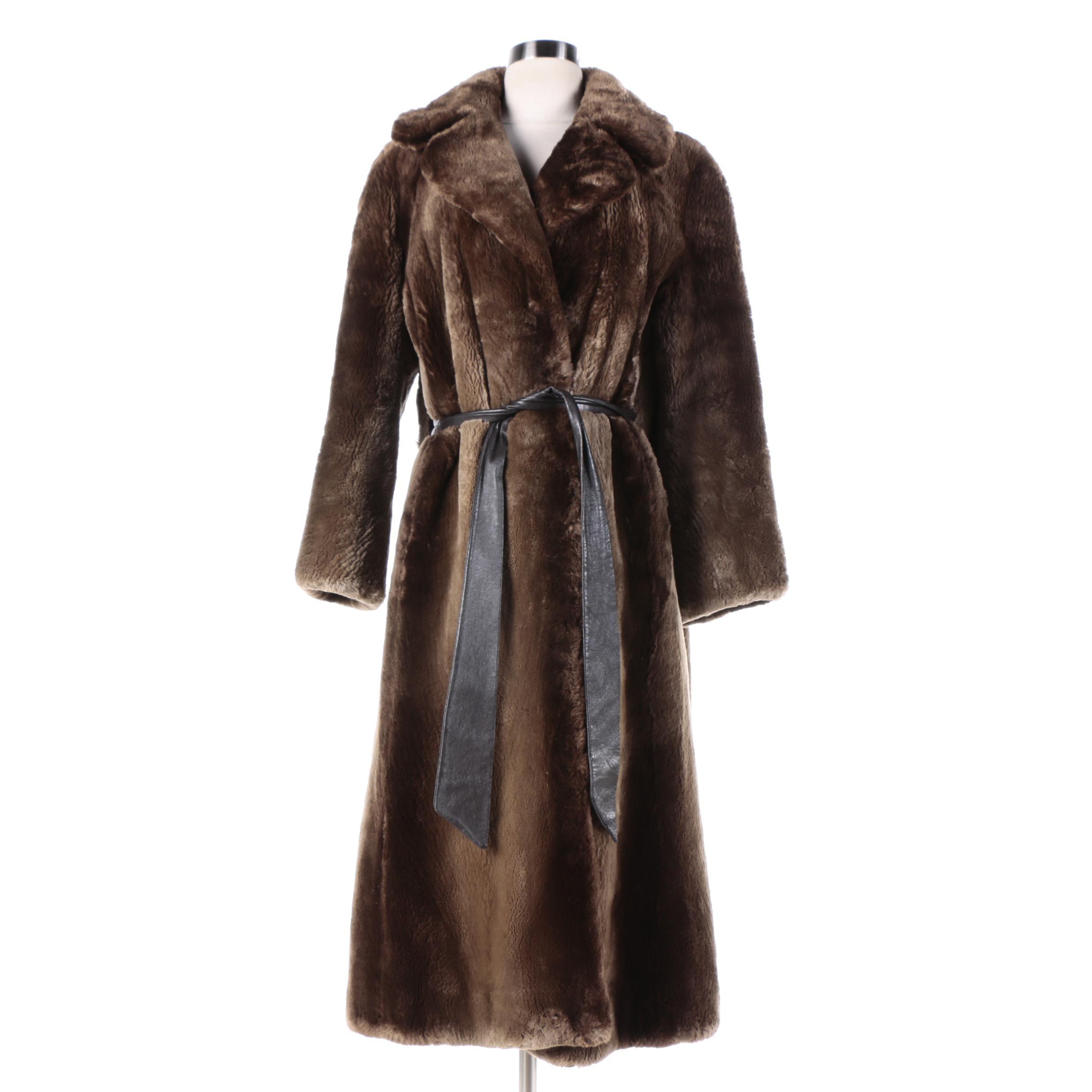 Vintage Sheared Beaver Fur Coat from Briskin-Berk Furs with Leather Tie Belt