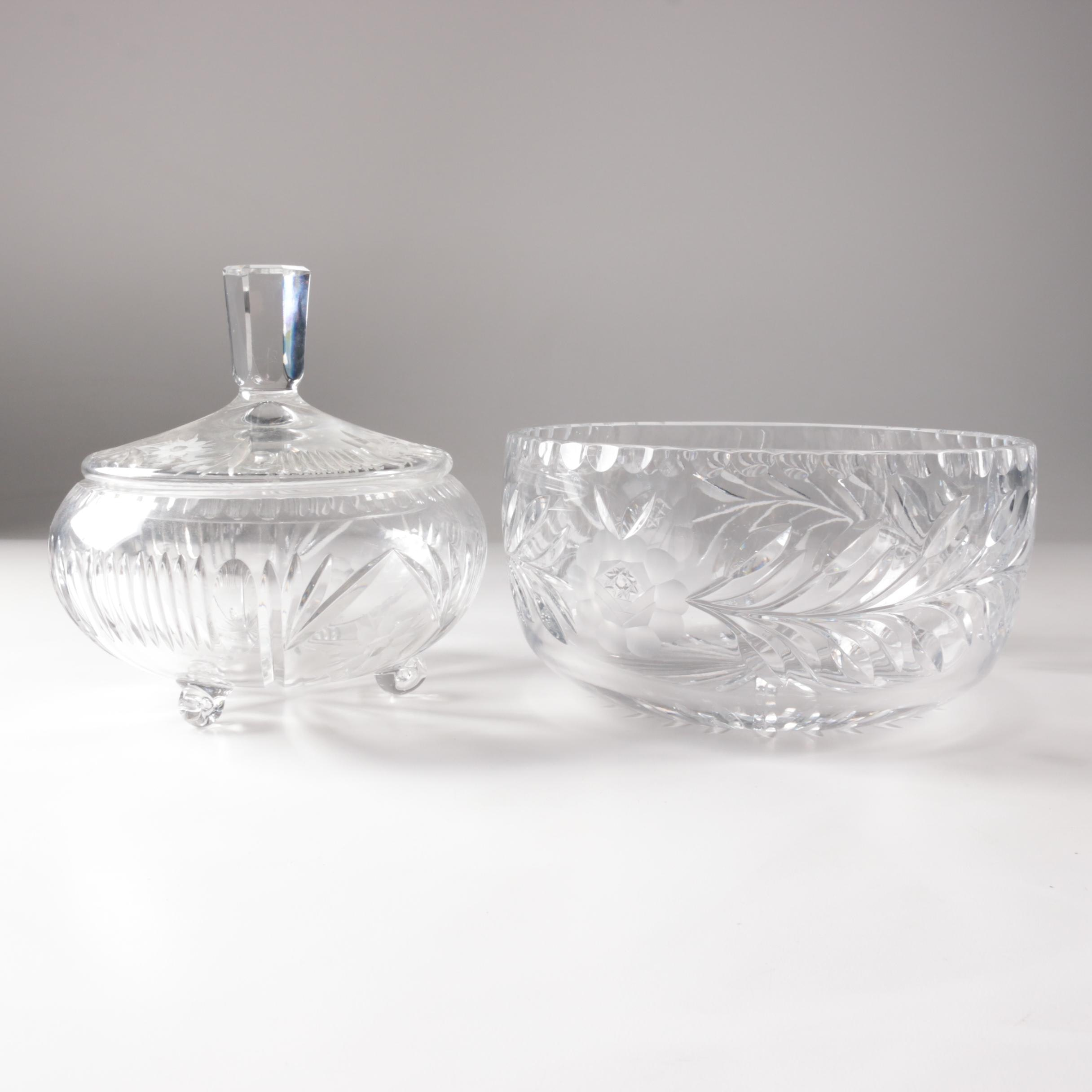 Glass Bowl with Covered Glass Candy Dish