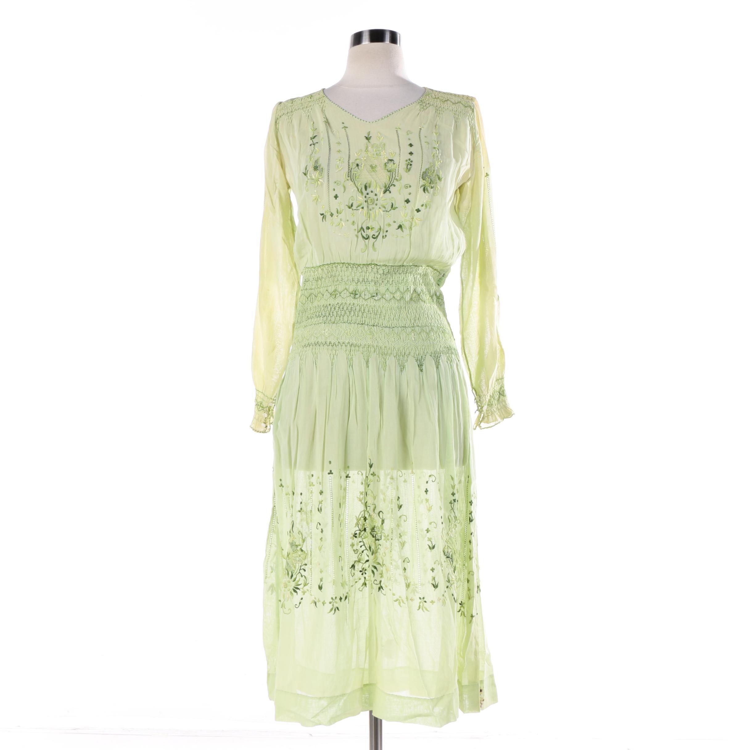 Vintage Embroidered Sheer Green Dress