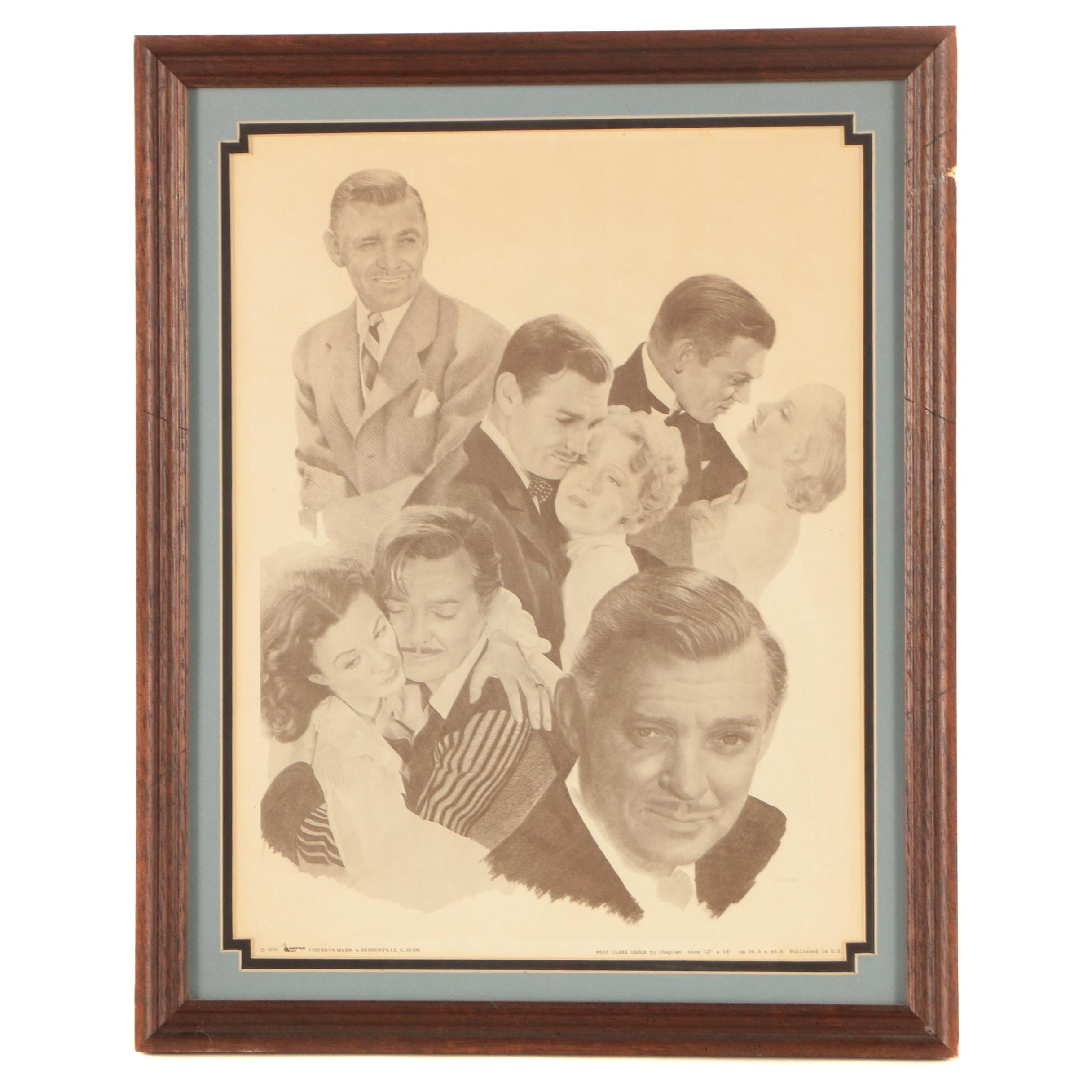 Halftone Print After Chaplan Drawings of Clark Gable and his Leading Ladies