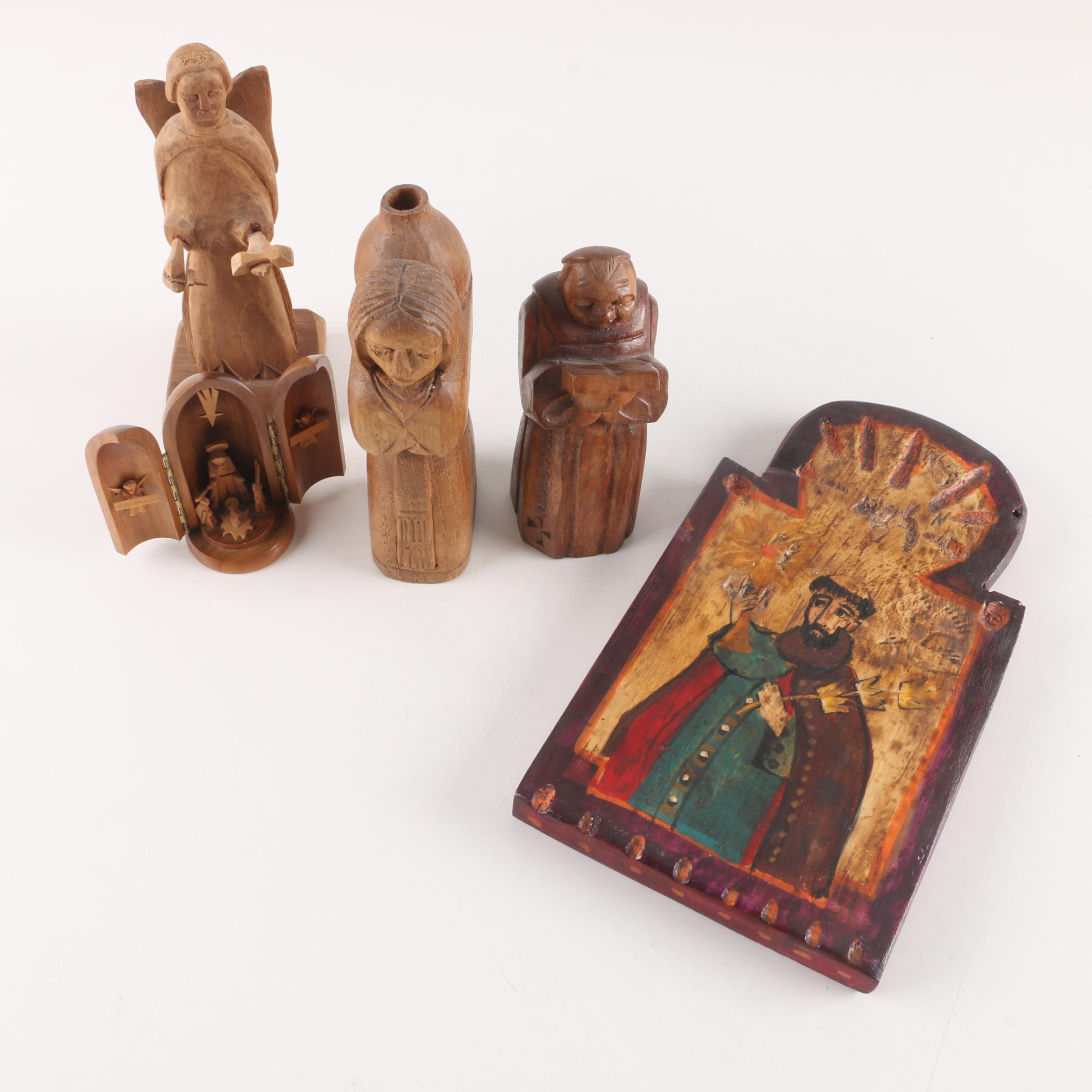 New Mexican Retablo and Other Religious Wood Carvings