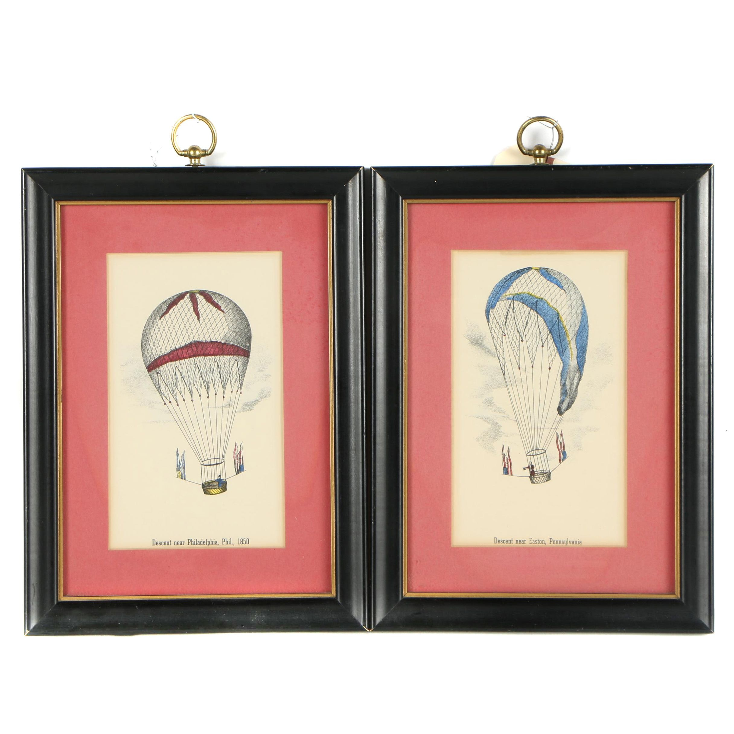 Photomechanical Reproduction Prints of 19th Century Hot Air Balloons