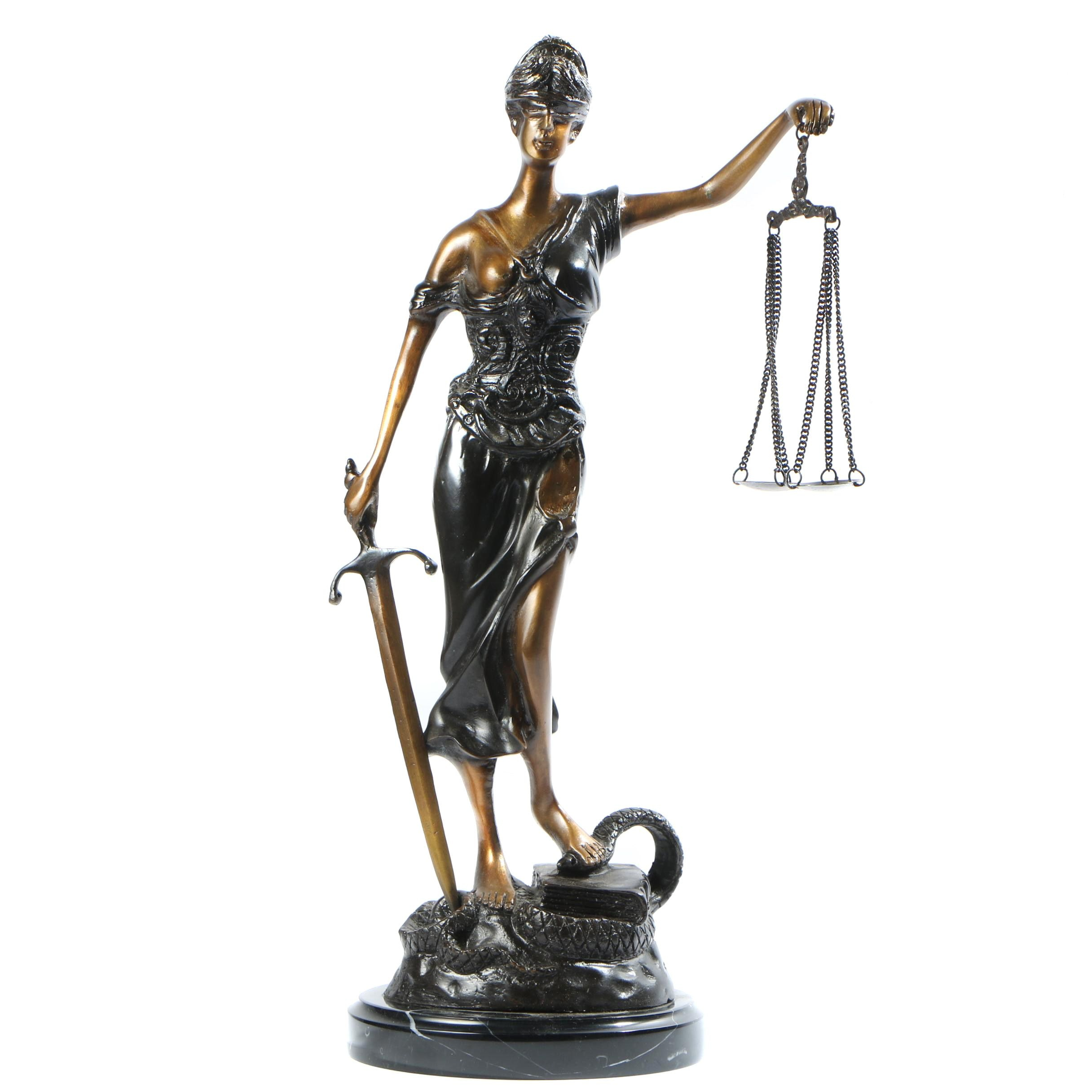 Brass Tone Sculpture of Lady Justice Attributed to Mayer