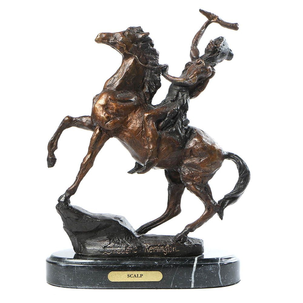 "Metal Sculpture After Frederic Remington ""Scalp"""