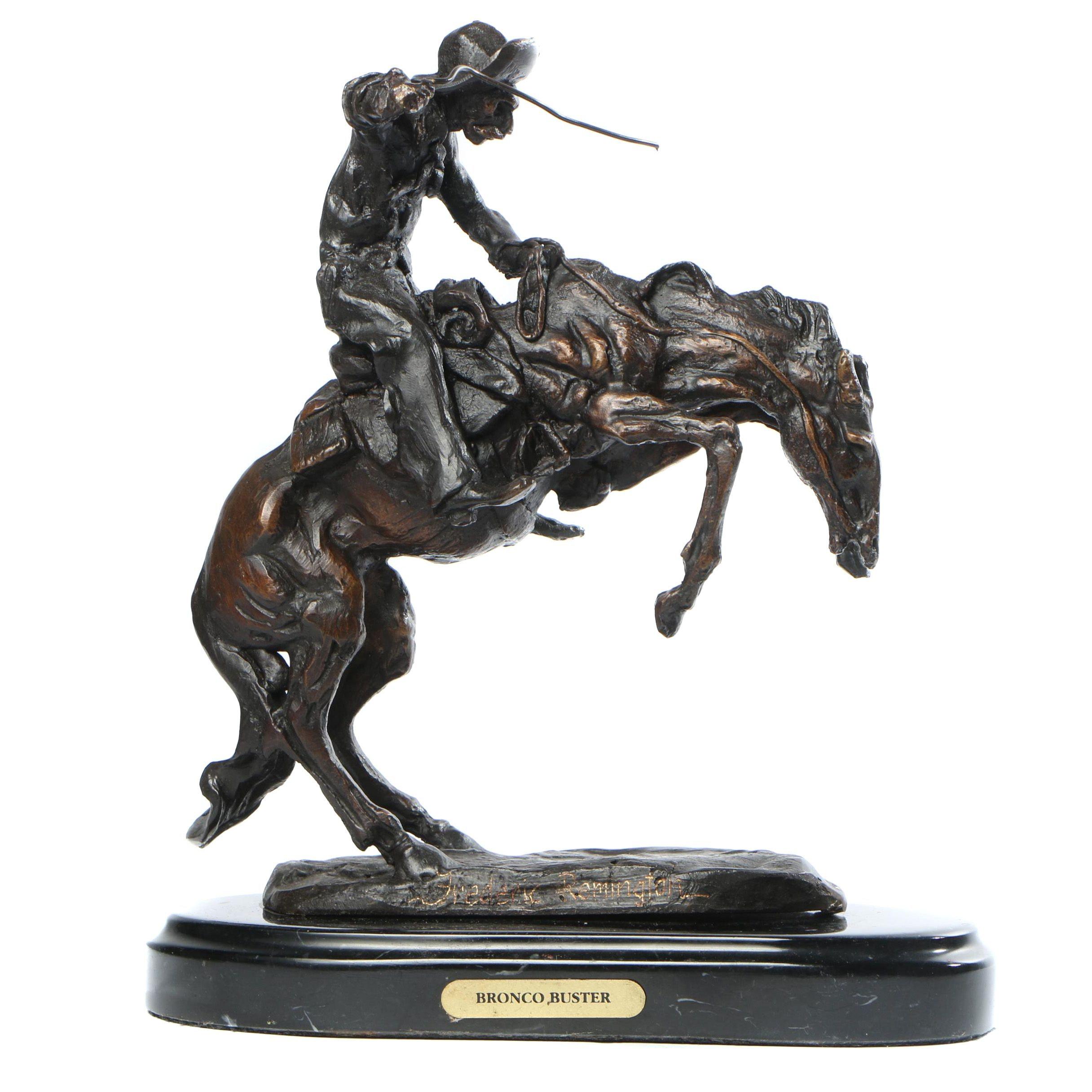 "Metal Sculpture After Frederic Remington ""Bronco Buster"""
