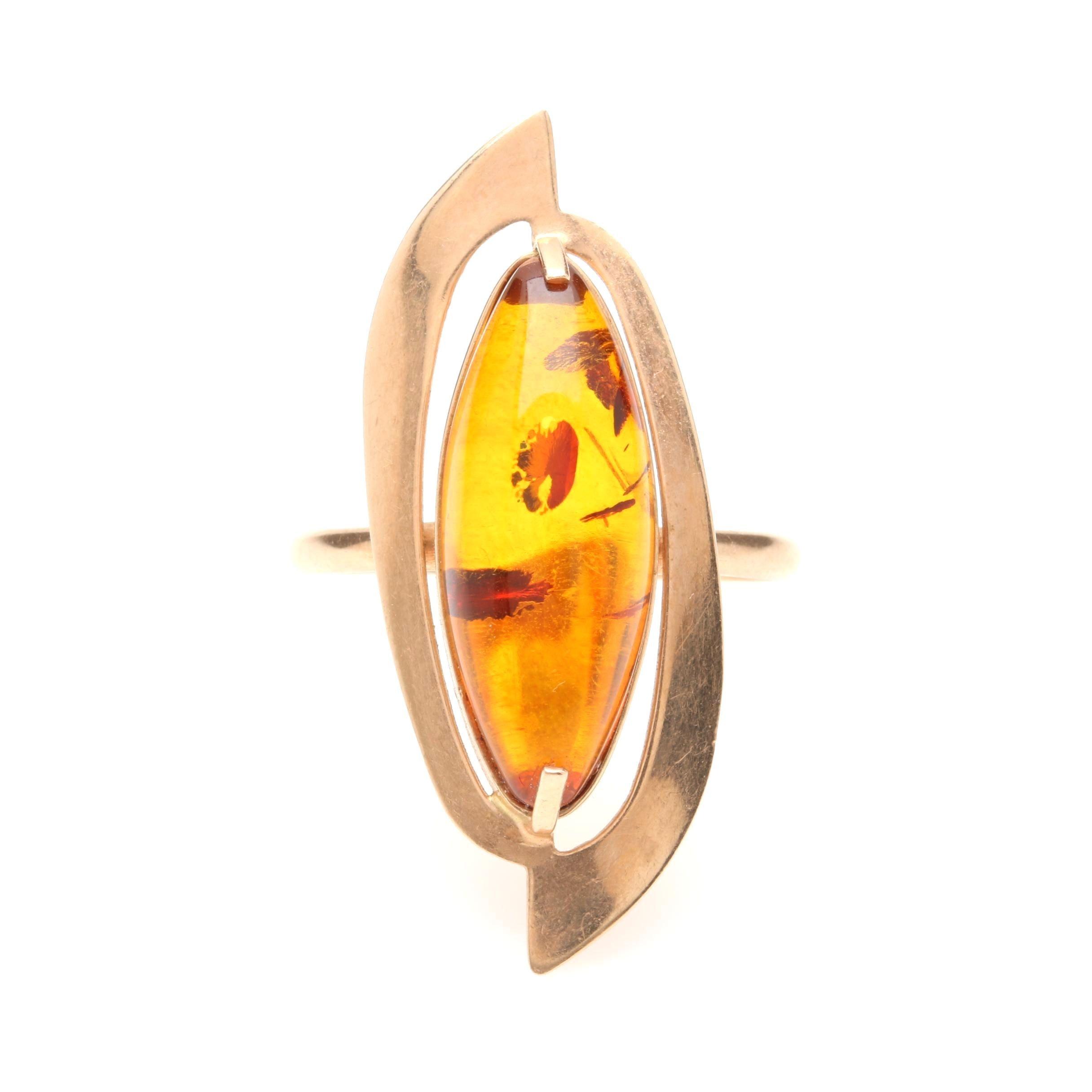 Vintage Soviet Russia 14K Rose Gold Amber Ring