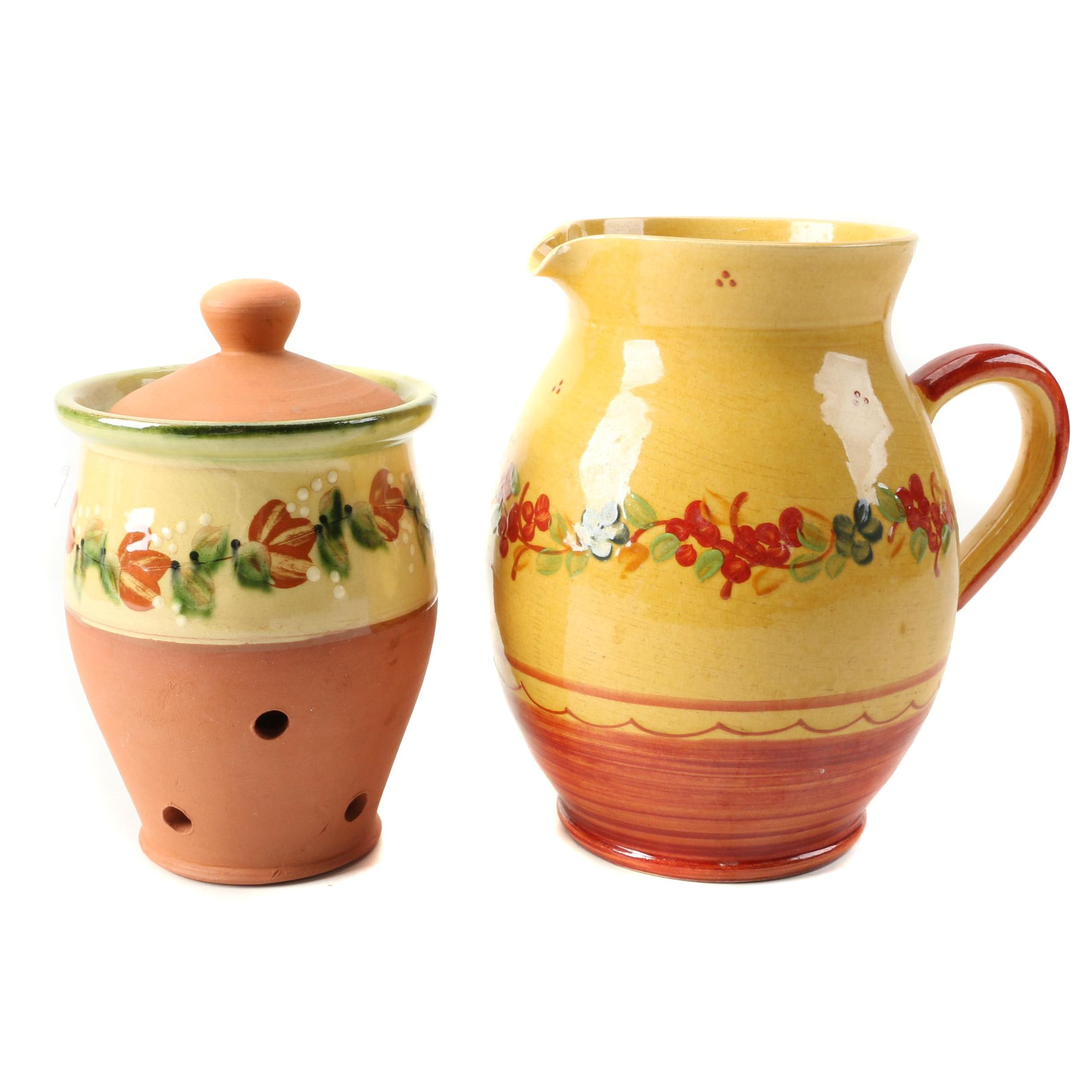 French Terre è Provence Earthenware Pitcher and Lidded Garlic Jar
