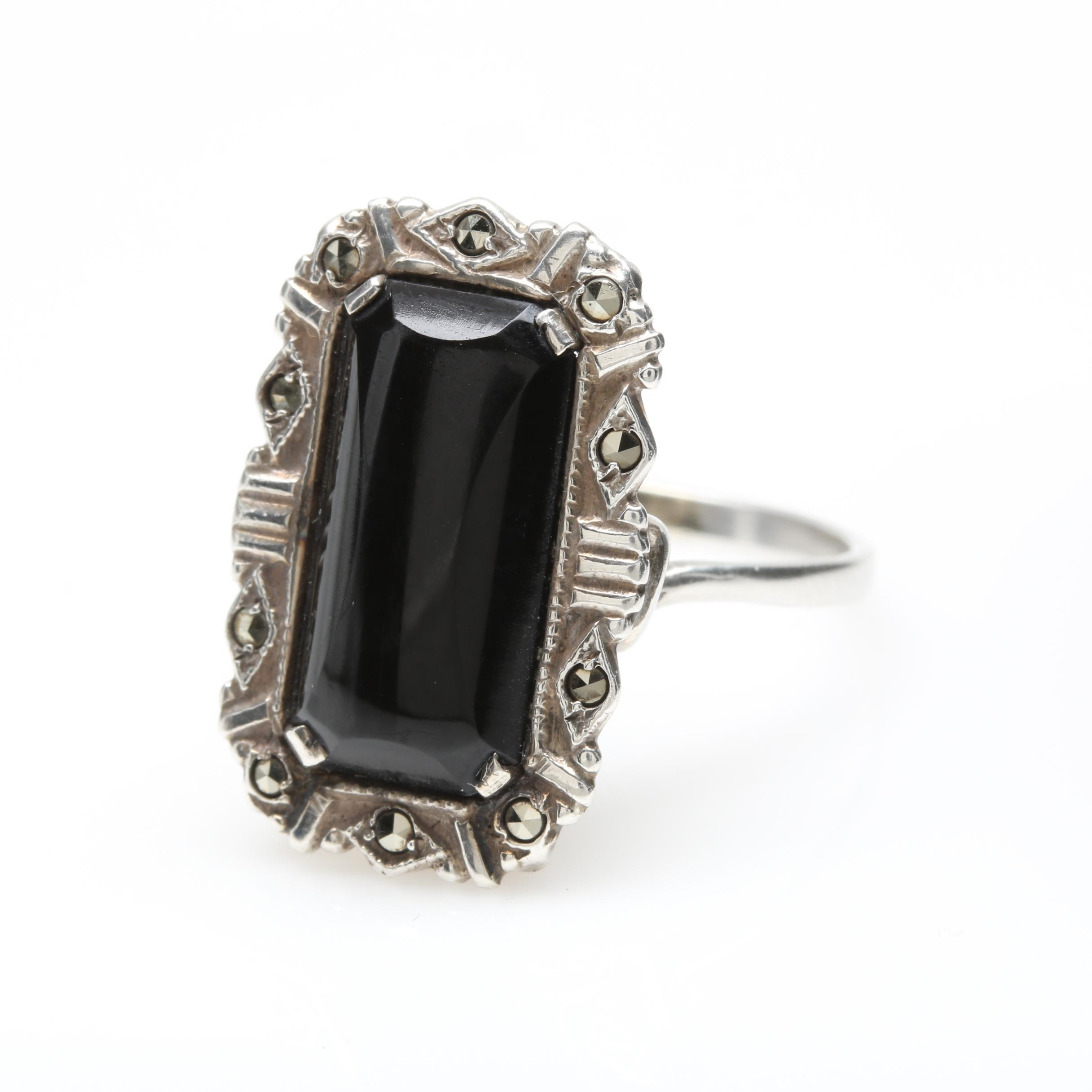 Vintage Sterling Silver Black Onyx and Marcasite Ring