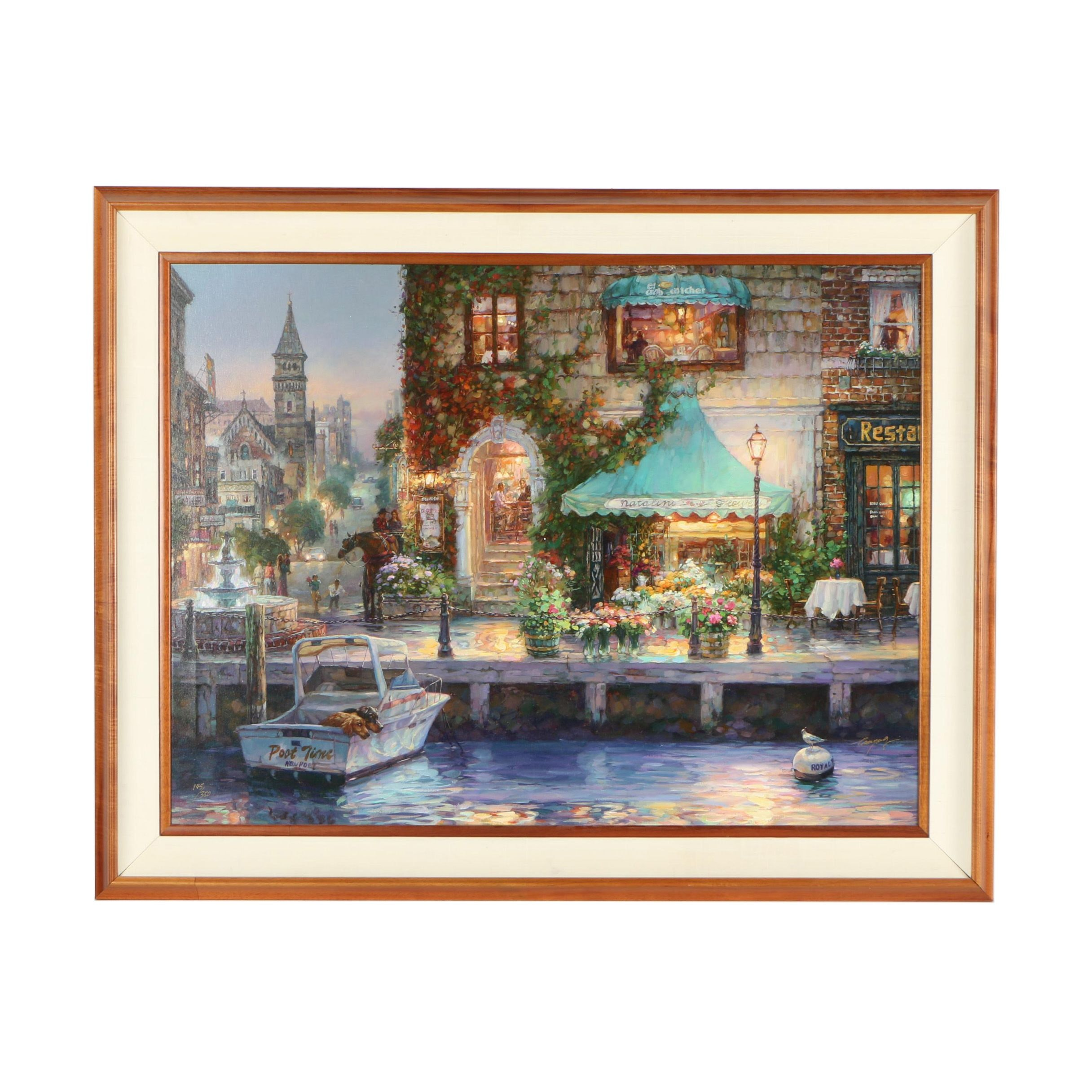 """Cao Yong Limited Edition Embellished Offset Lithograph """"Waiting For Captain"""""""