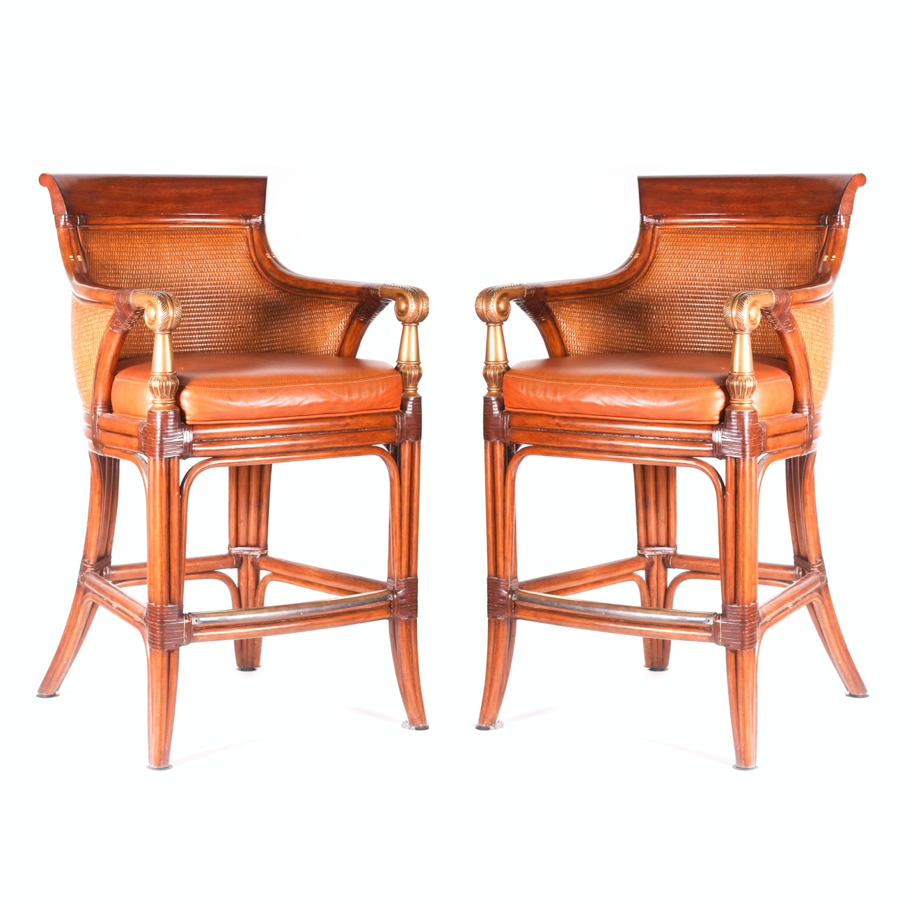Pair of Ethan Allen Bar Stools Armchairs