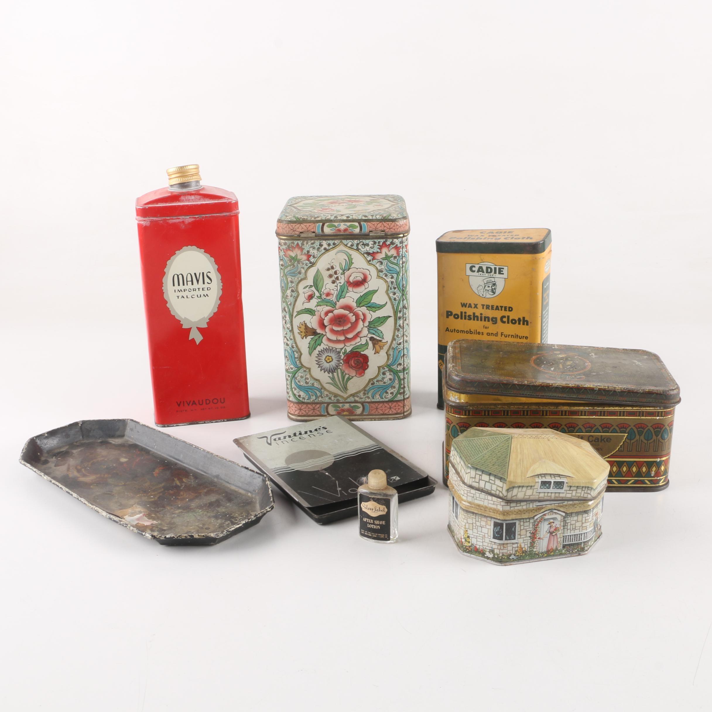 Mavis Talcum Tin and Assorted Vintage Tins