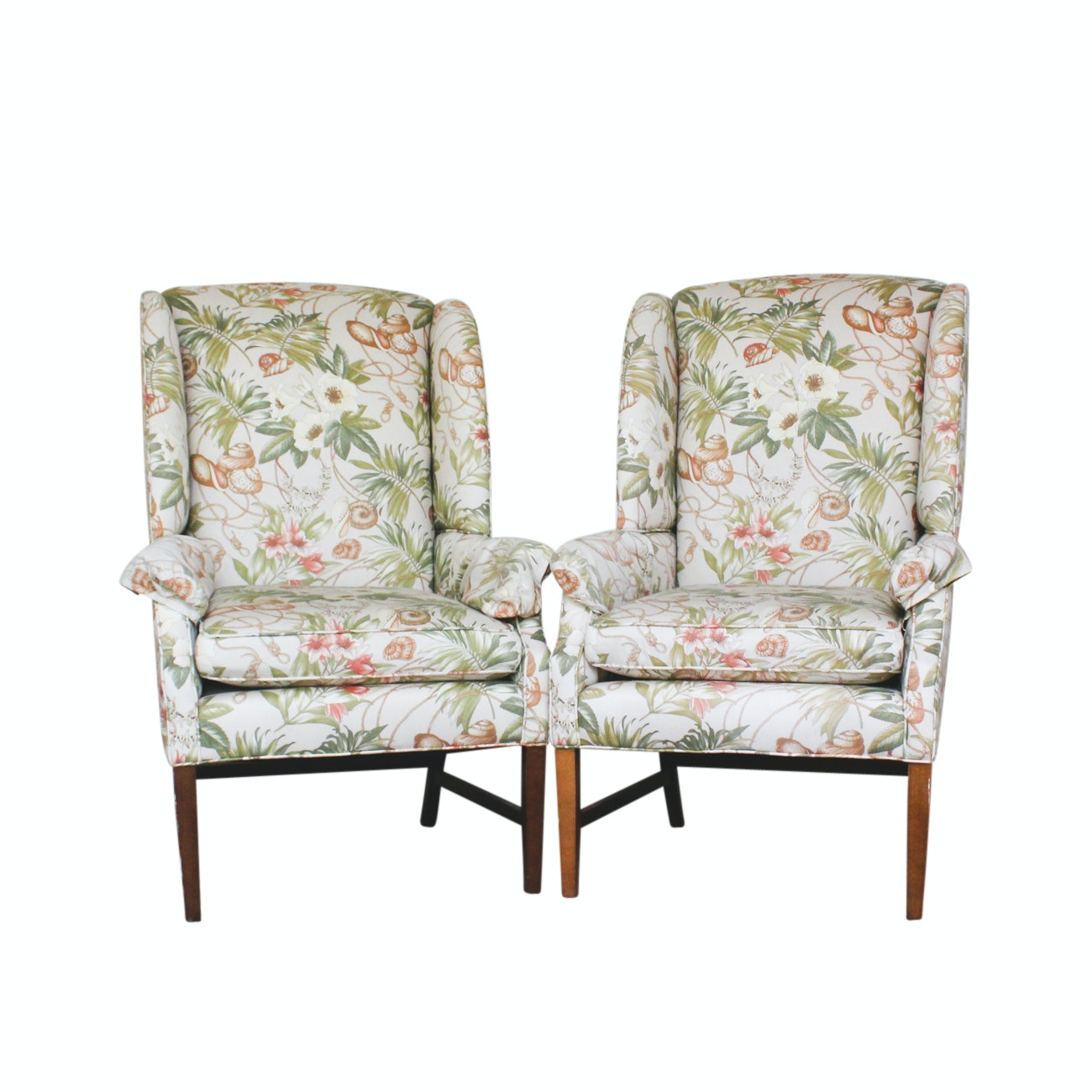 Pair of Chippendale Style Wingback Armchairs