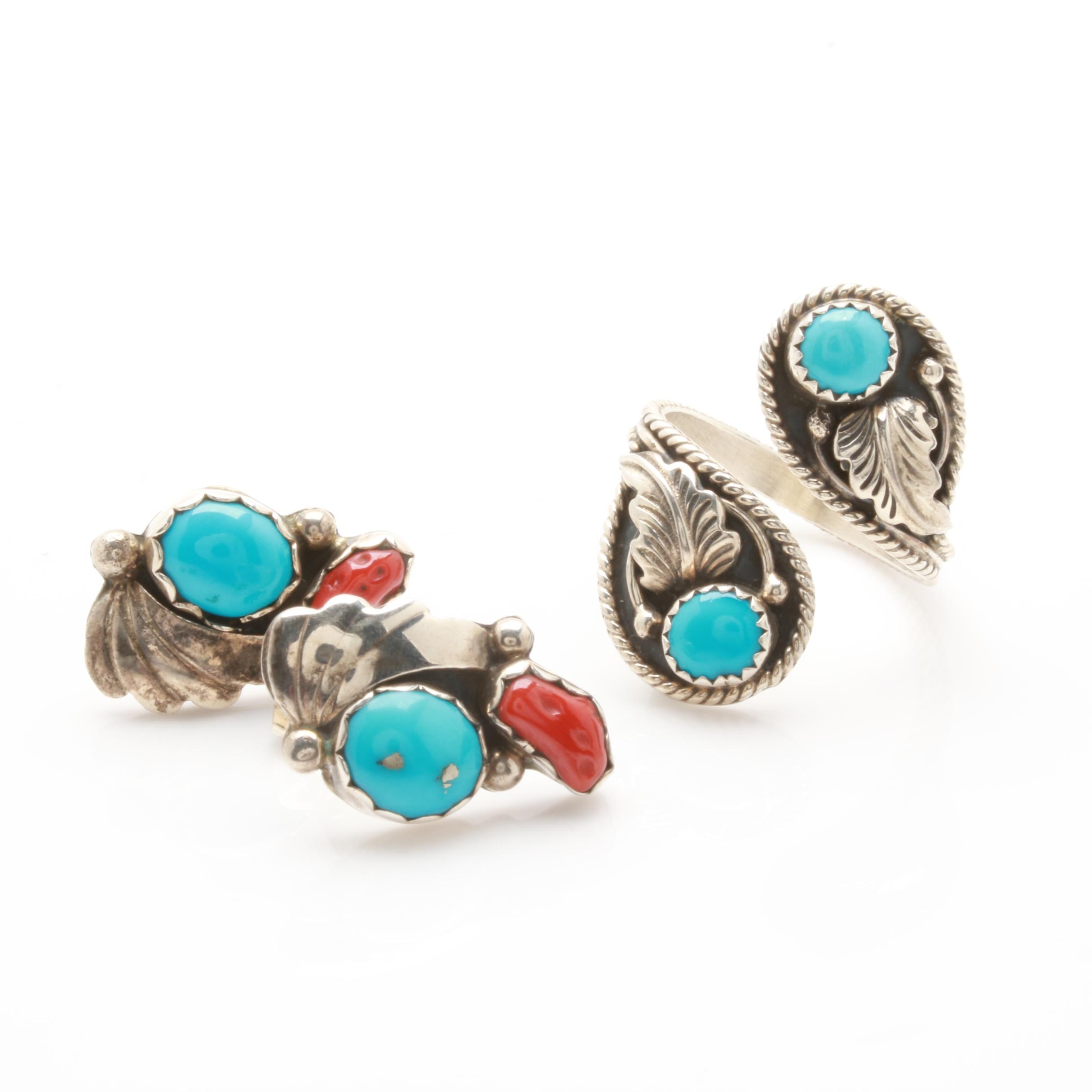 Johnny Johnson Navajo Diné Sterling Silver Ring and Southwestern Earrings