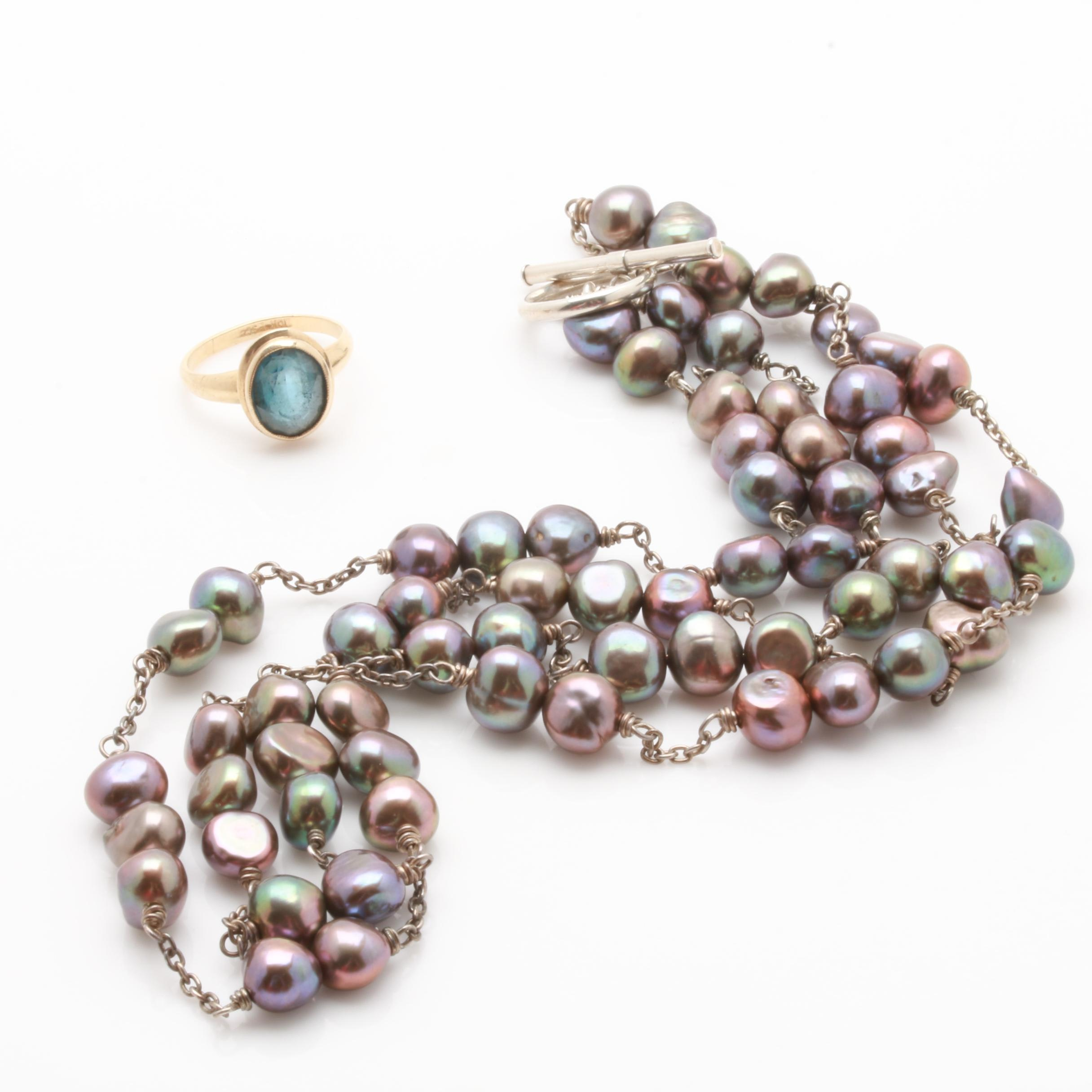 10K Yellow Gold Blue Topaz Ring and Sterling Silver Cultured Pearl Necklace