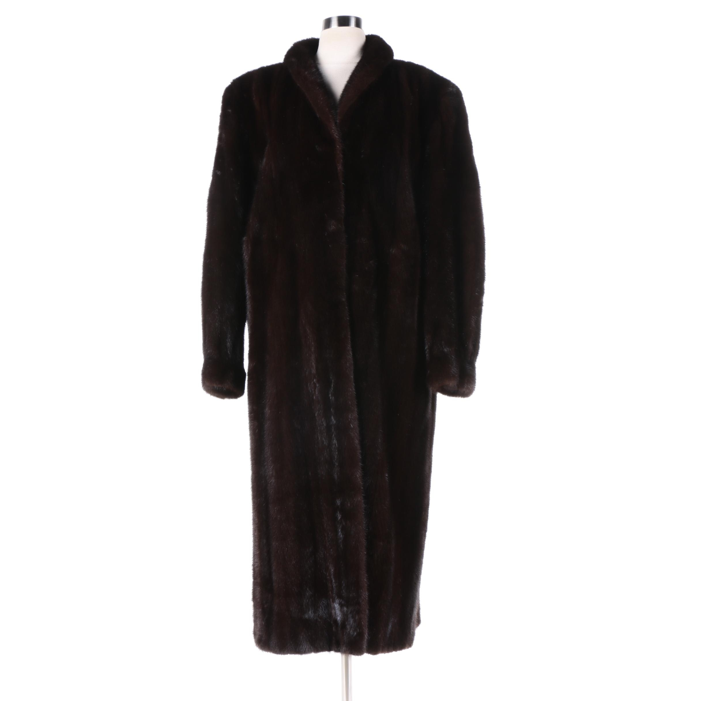 Women's Vintage Embry's Dark Mahogany Brown Mink Fur Coat