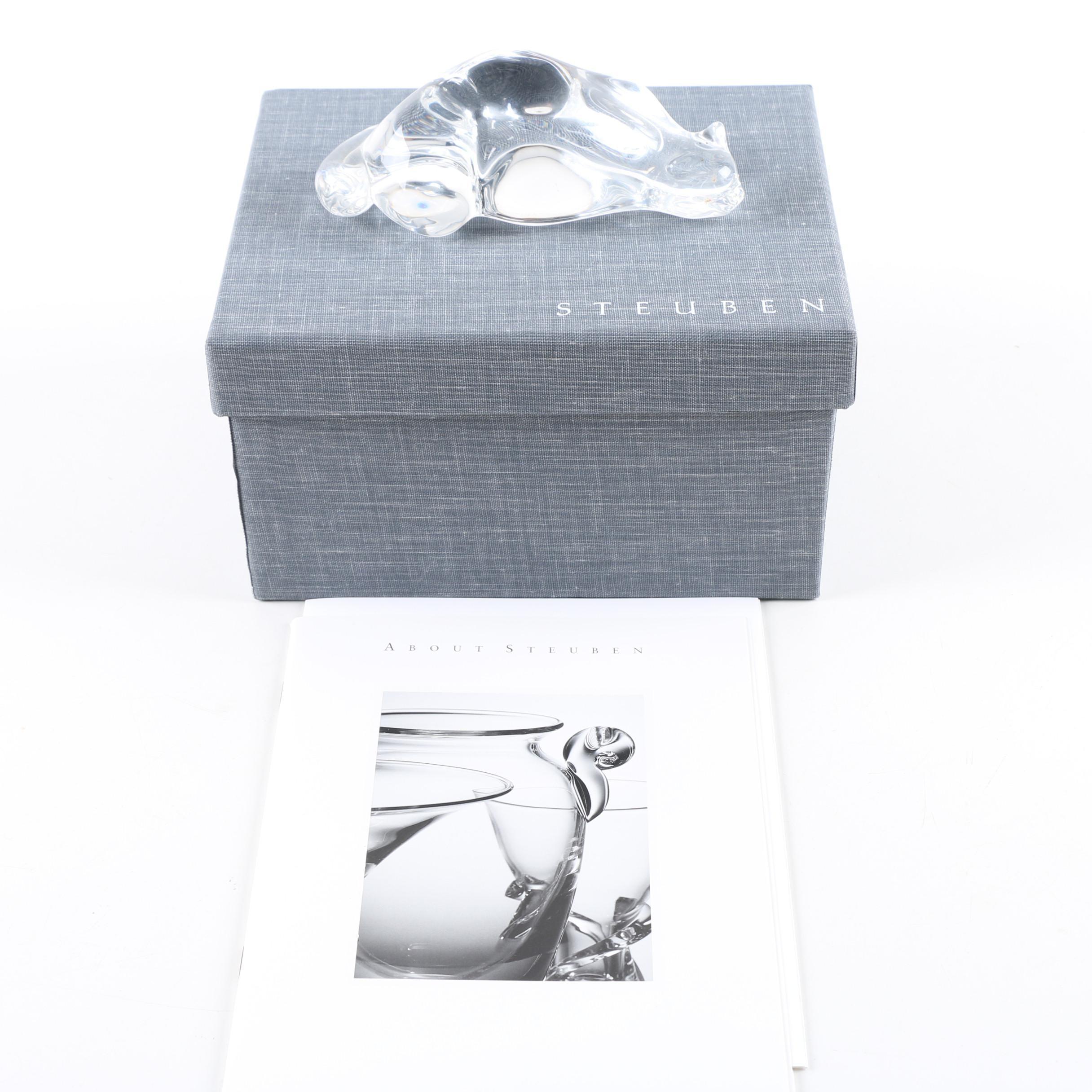 "Steuben  ""Roman Crouching Cat"" Figurine"