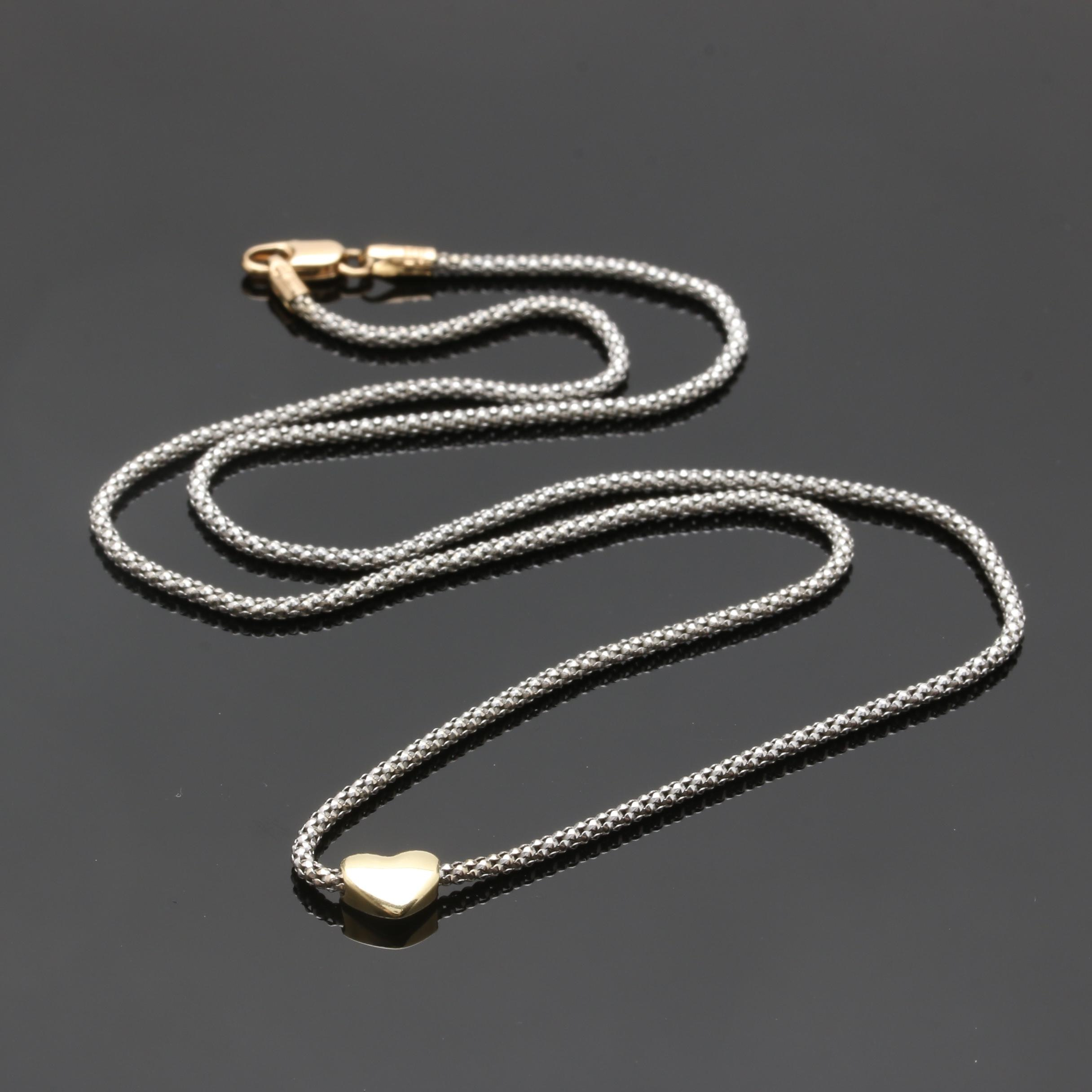 14K White Gold Chain Necklace with Yellow Gold Accents