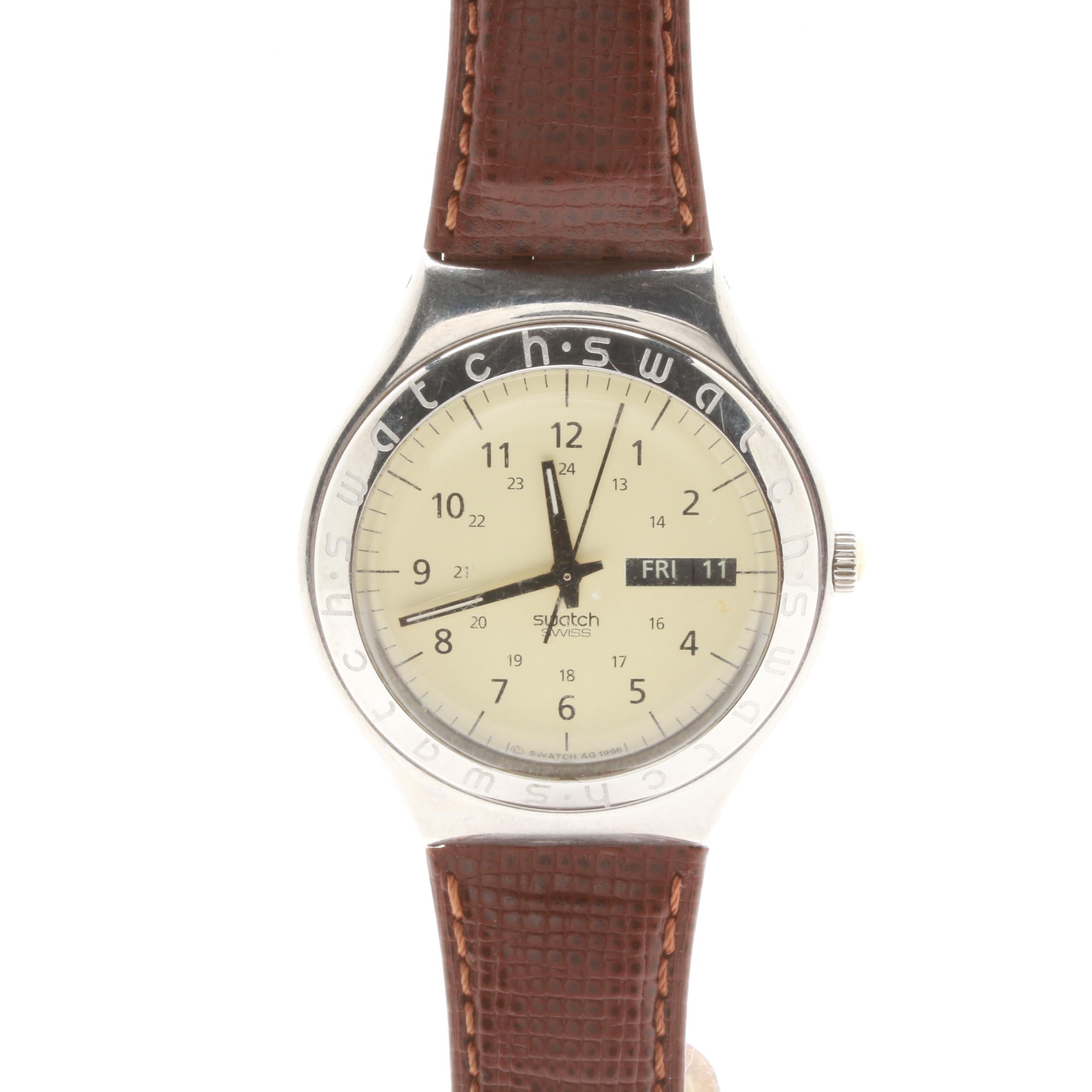 Swatch Stainless Steel Wristwatch With Leather Strap