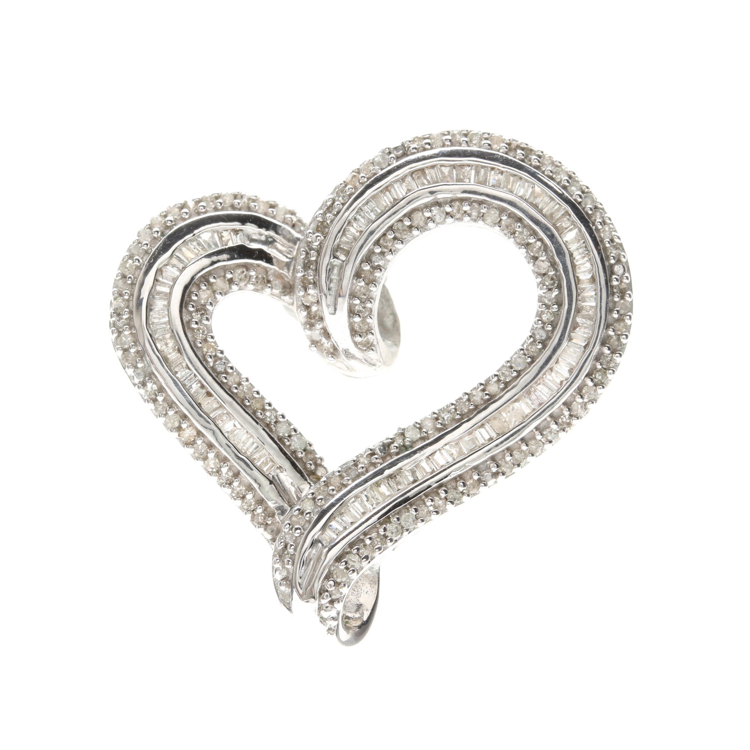 Silver Tone Diamond Heart Pendant