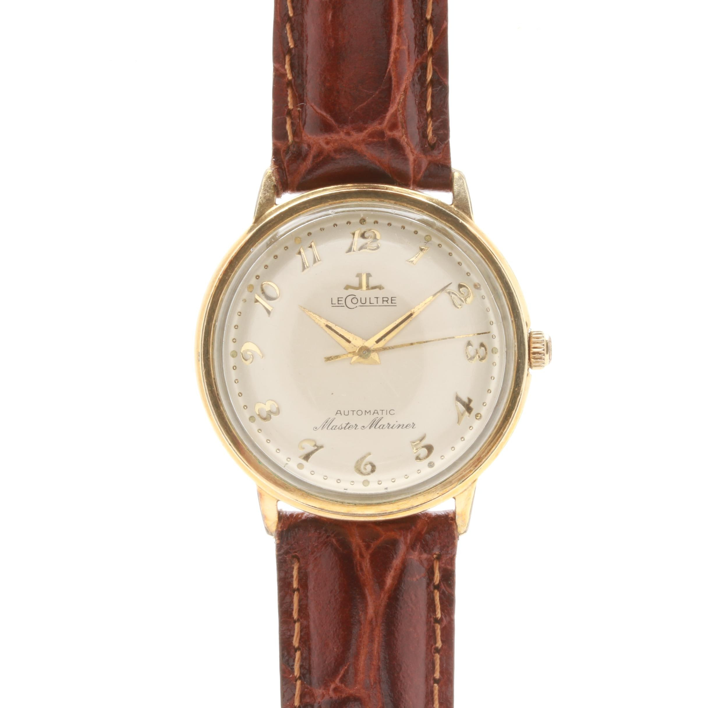 Vintage LeCoultre Master Mariner 10K Gold Filled Wristwatch With Leather Strap