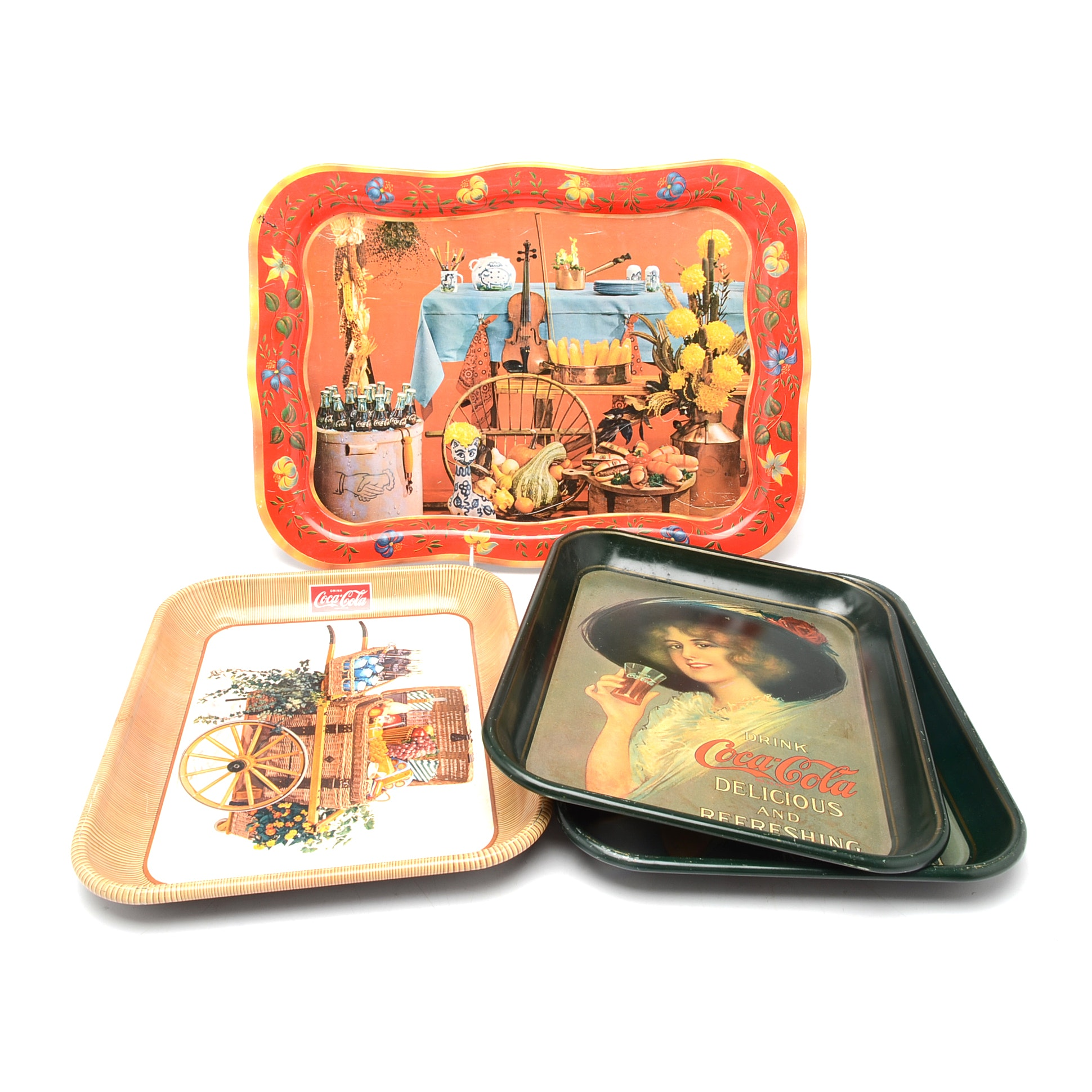 "Assorted Vintage and Contemporary ""Coca-Cola"" Serving Trays"