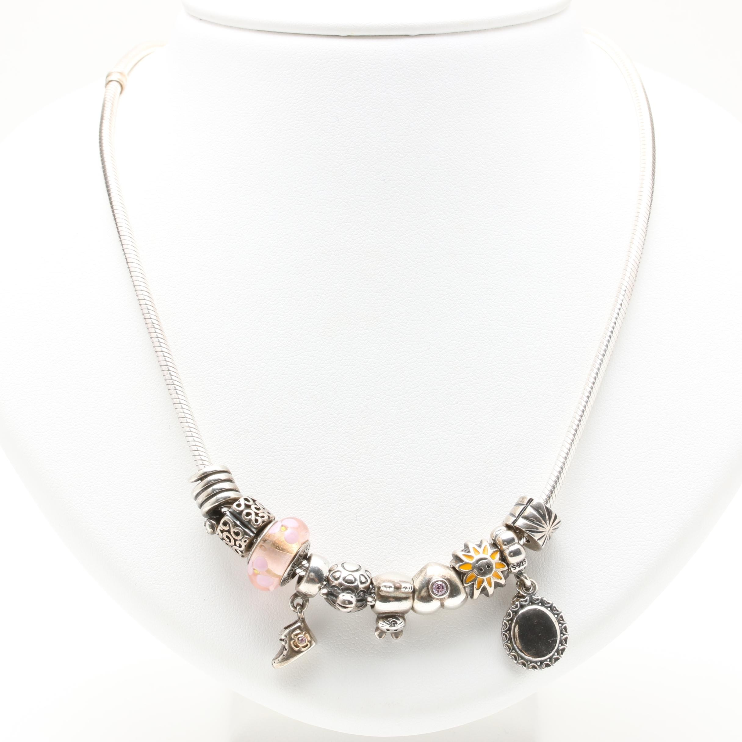 Pandora Sterling Silver Charm Necklace Including Lampwork Glass