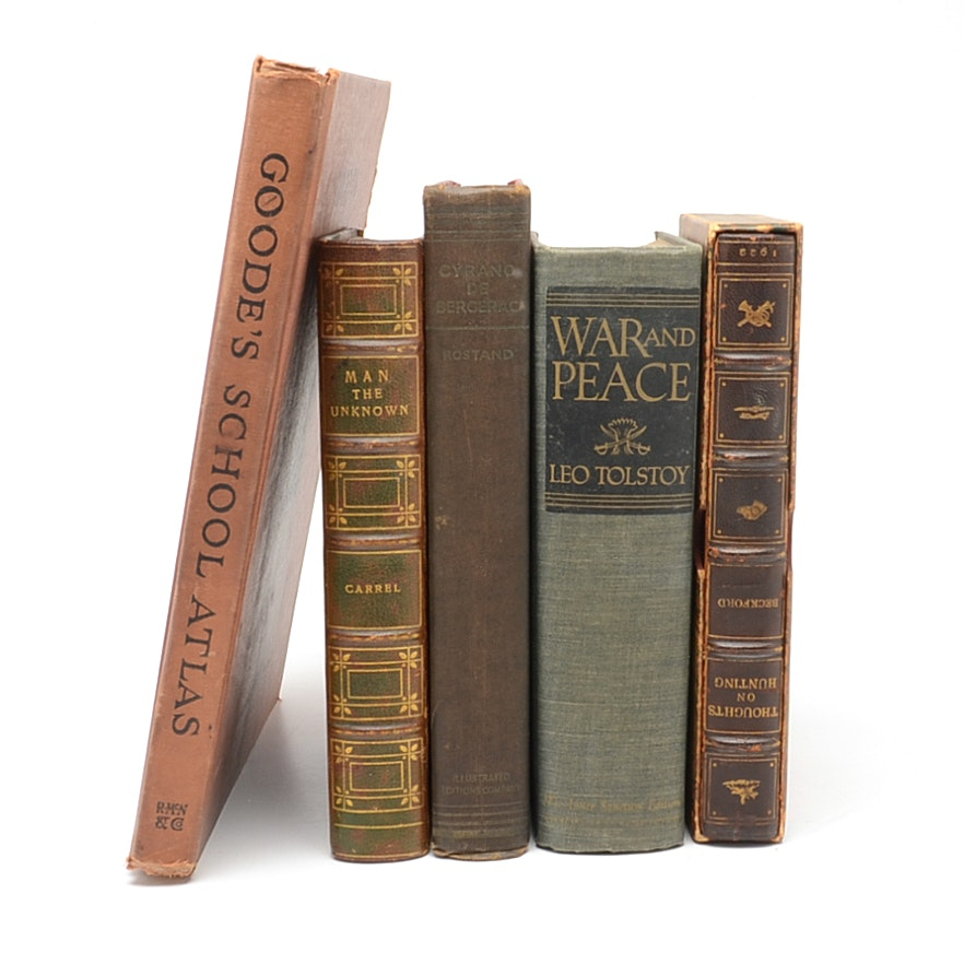 """War and Peace"" and Other Vintage Hardcover Books"