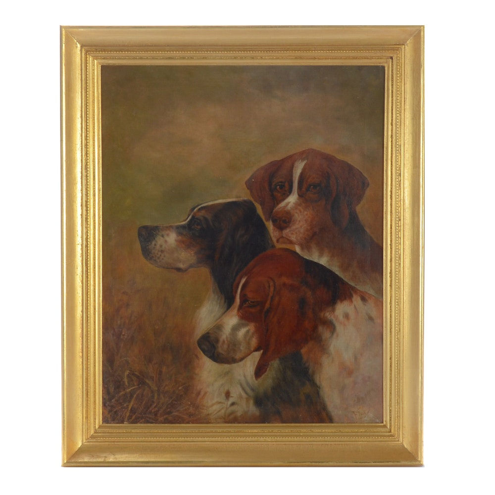 Flory Late 19th-Century Oil Hunting Dog Genre Painting on Canvas