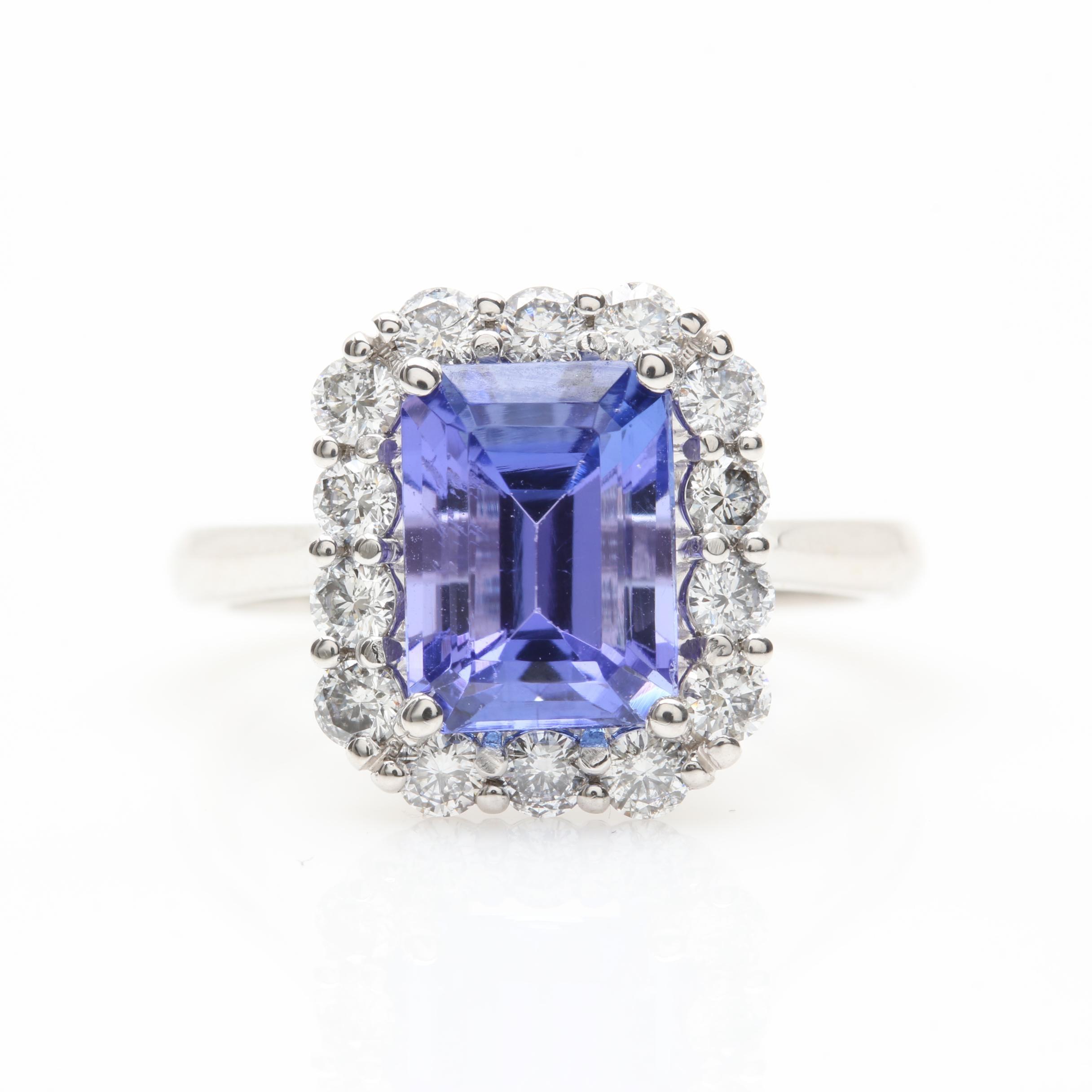 14K White Gold 3.06 CT Tanzanite and Diamond Ring