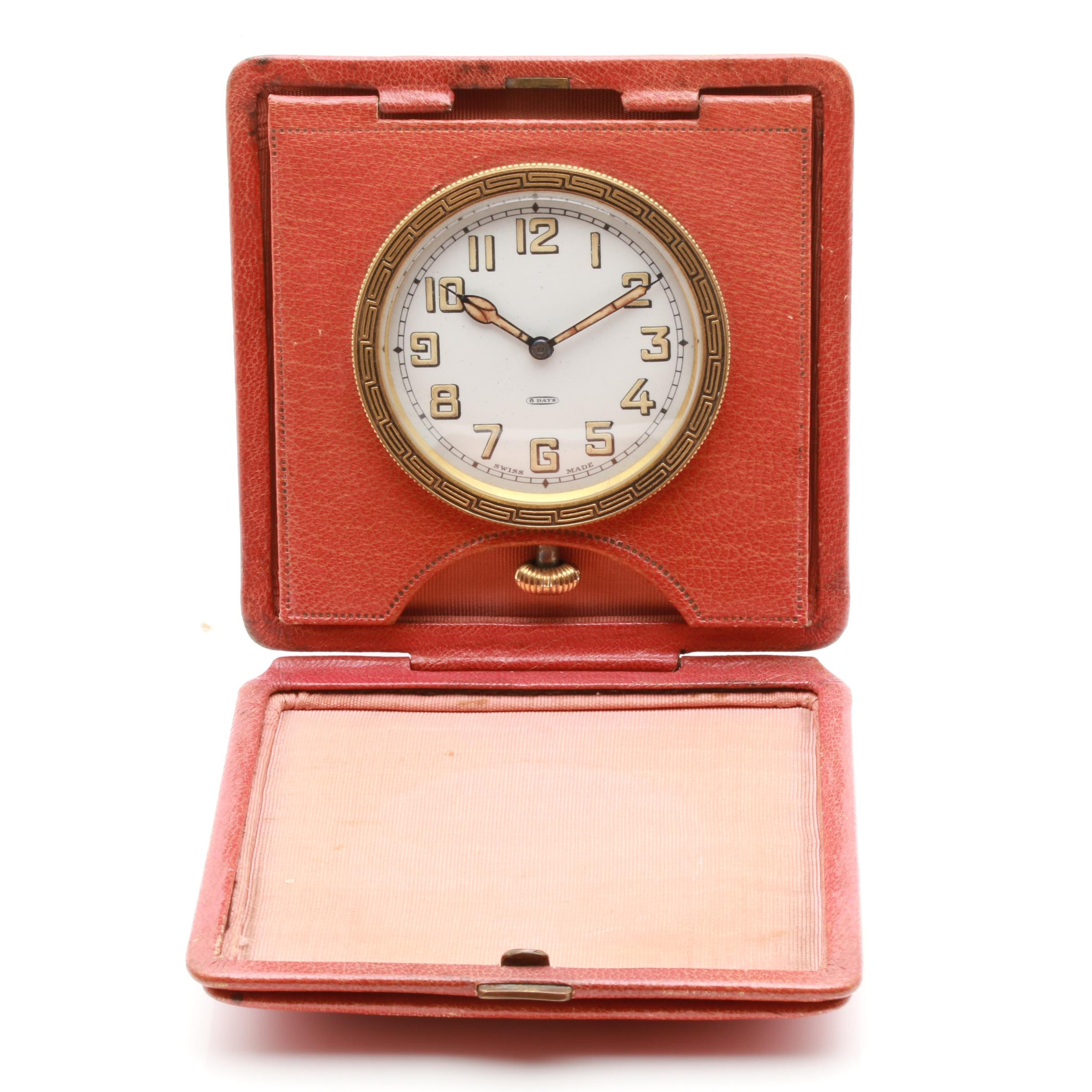 Circa 1920s Sandoz Swiss Eight Day Travel Clock with Leather Case
