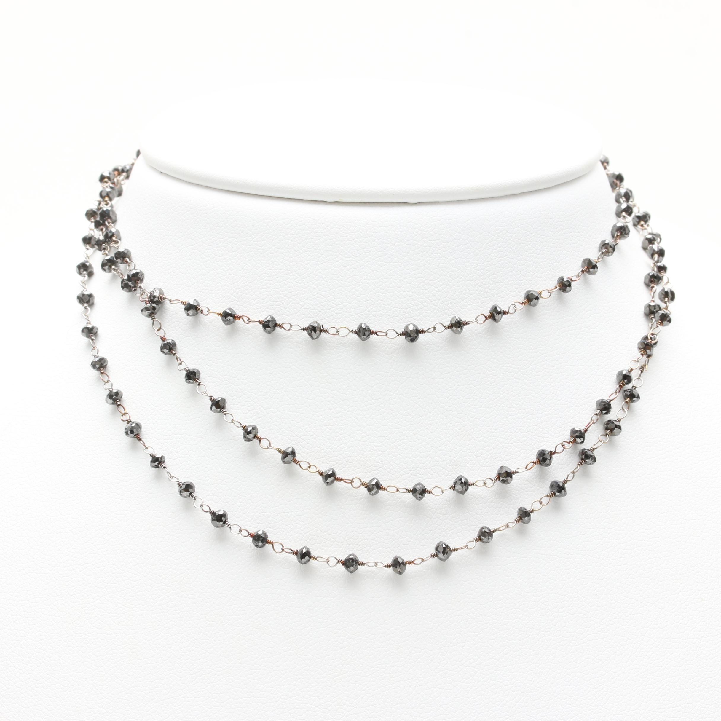 18K White Gold Black Diamond Necklace