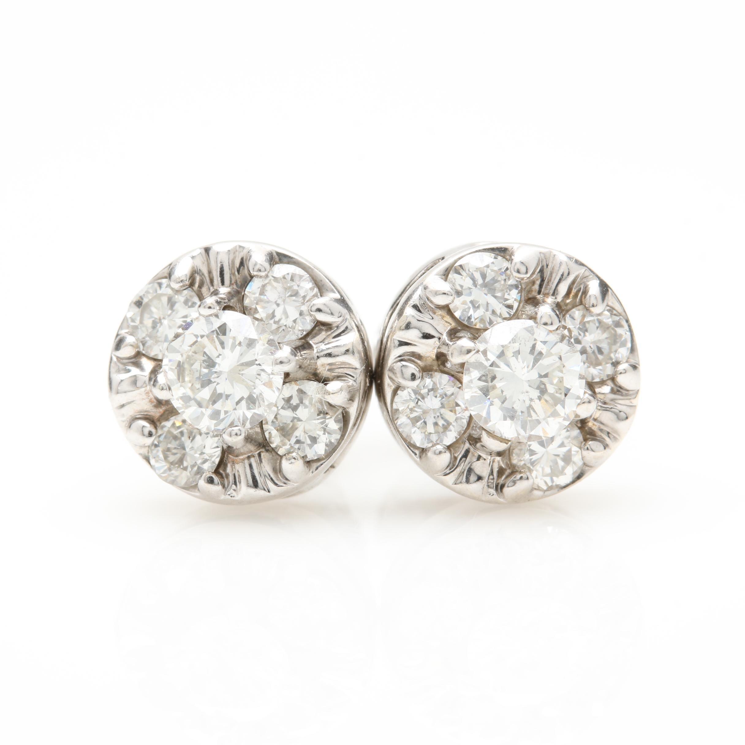 14K White Gold 1.00 CTW Diamond Earrings
