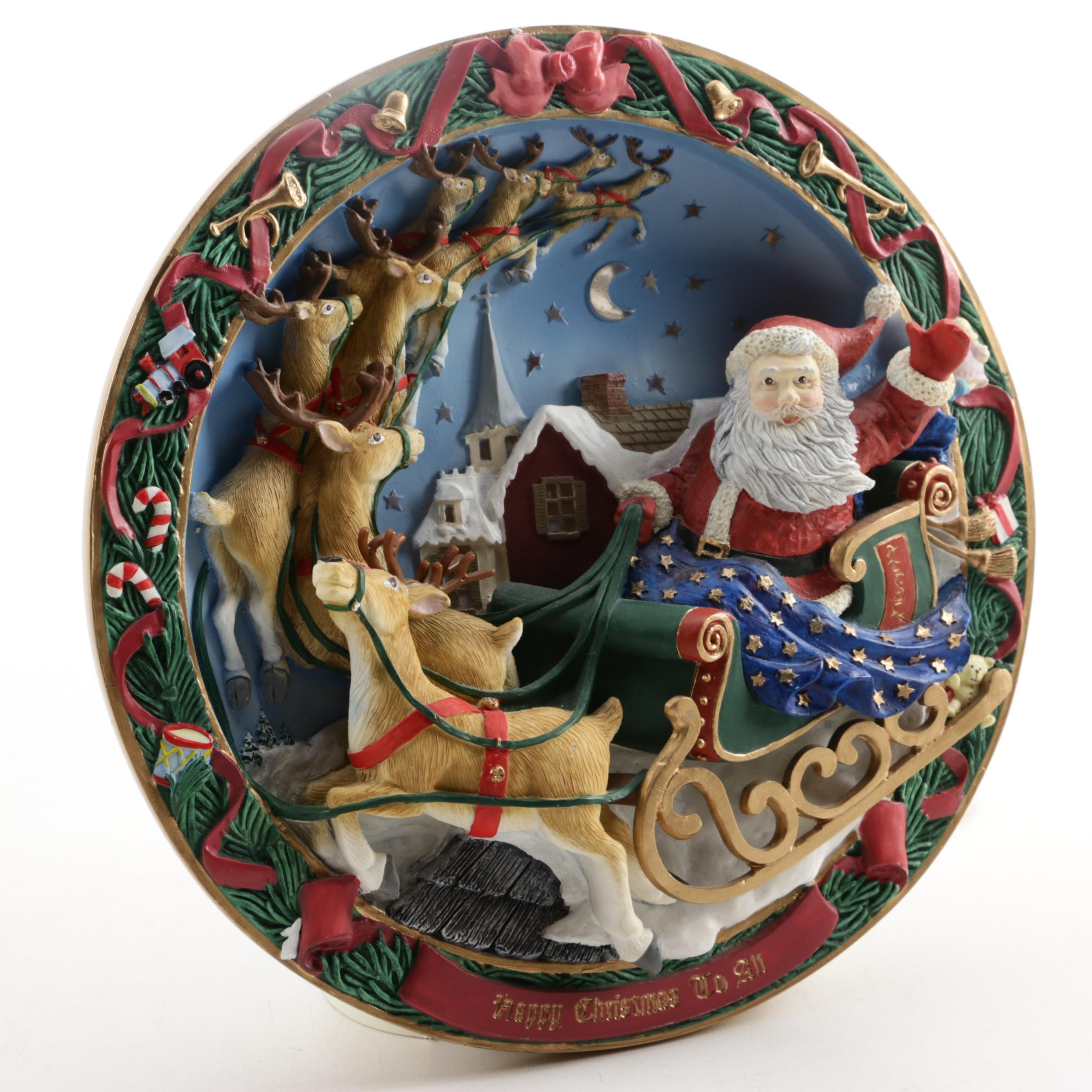 """Bradford Exchange """"Happy Christmas To All"""" Annual Light-Up Christmas Plate"""
