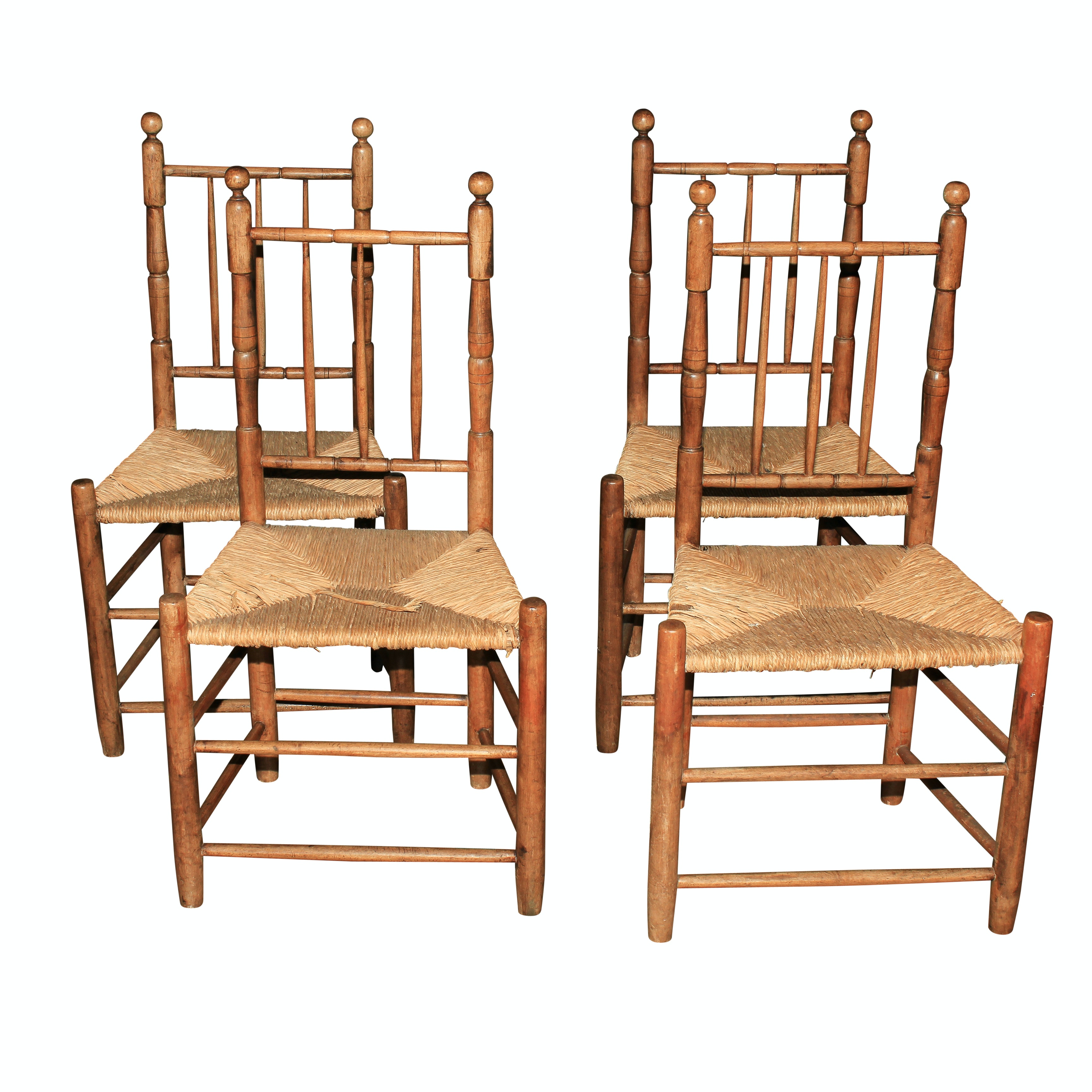 Vintage Spindle Back Rush Seat Chairs