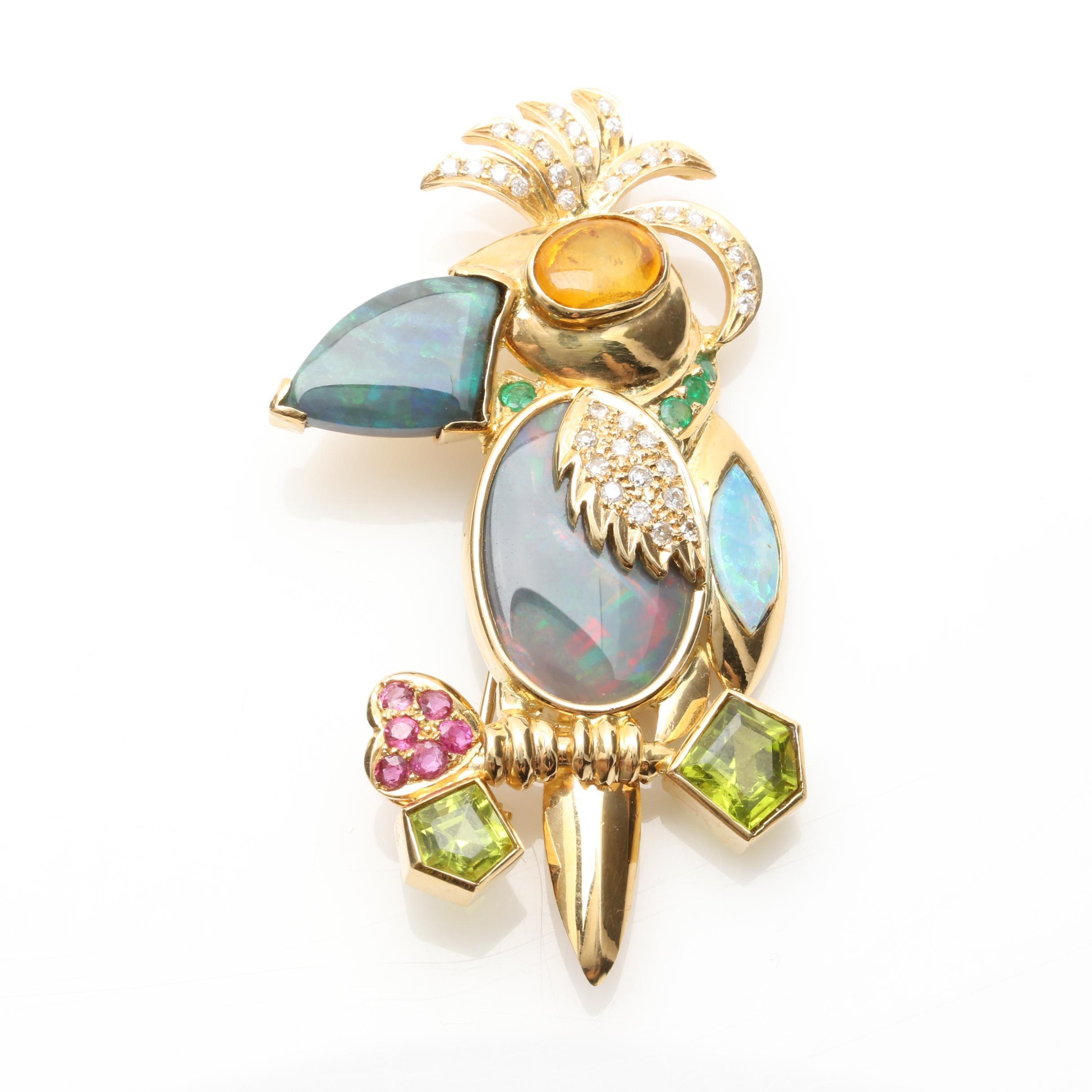 18K Yellow Gold Opal, Ruby, Emerald, and Diamond Toucan Bird Brooch